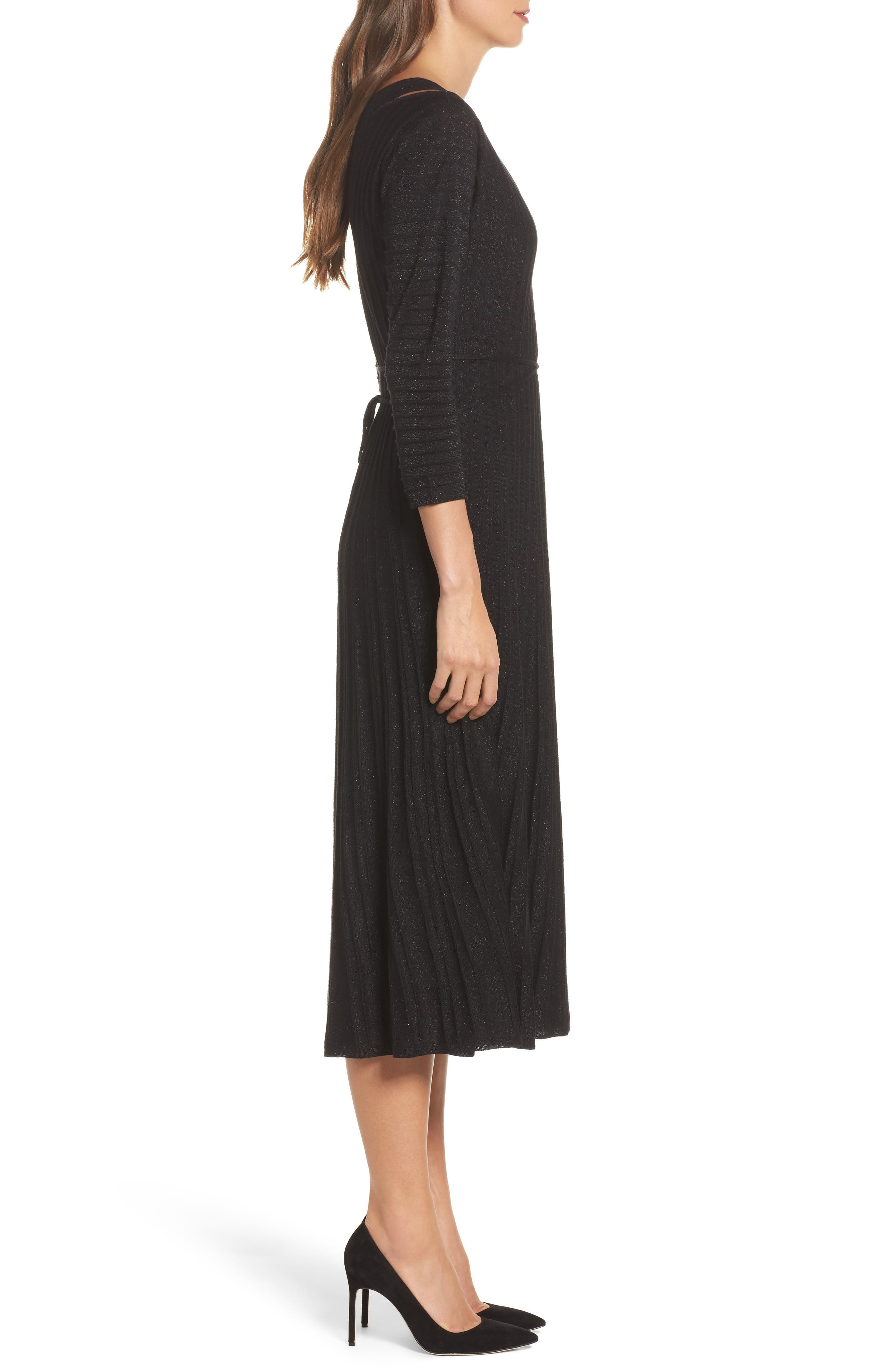 NIC + ZOE Shimmer Pleats Dress,                             Alternate thumbnail 3, color,                             Metallic B