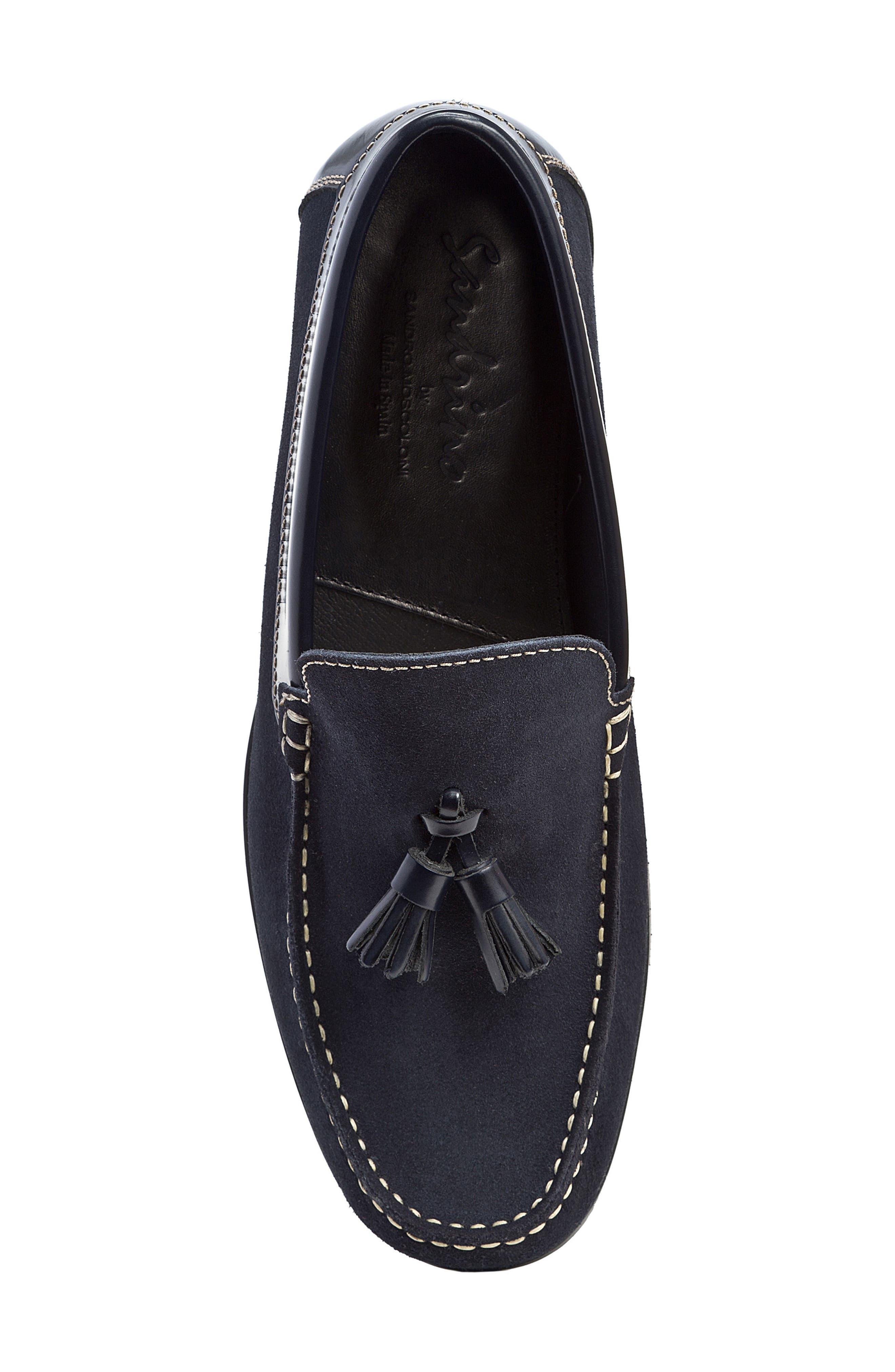 Hojas Tassel Loafer,                             Alternate thumbnail 5, color,                             Navy Leather