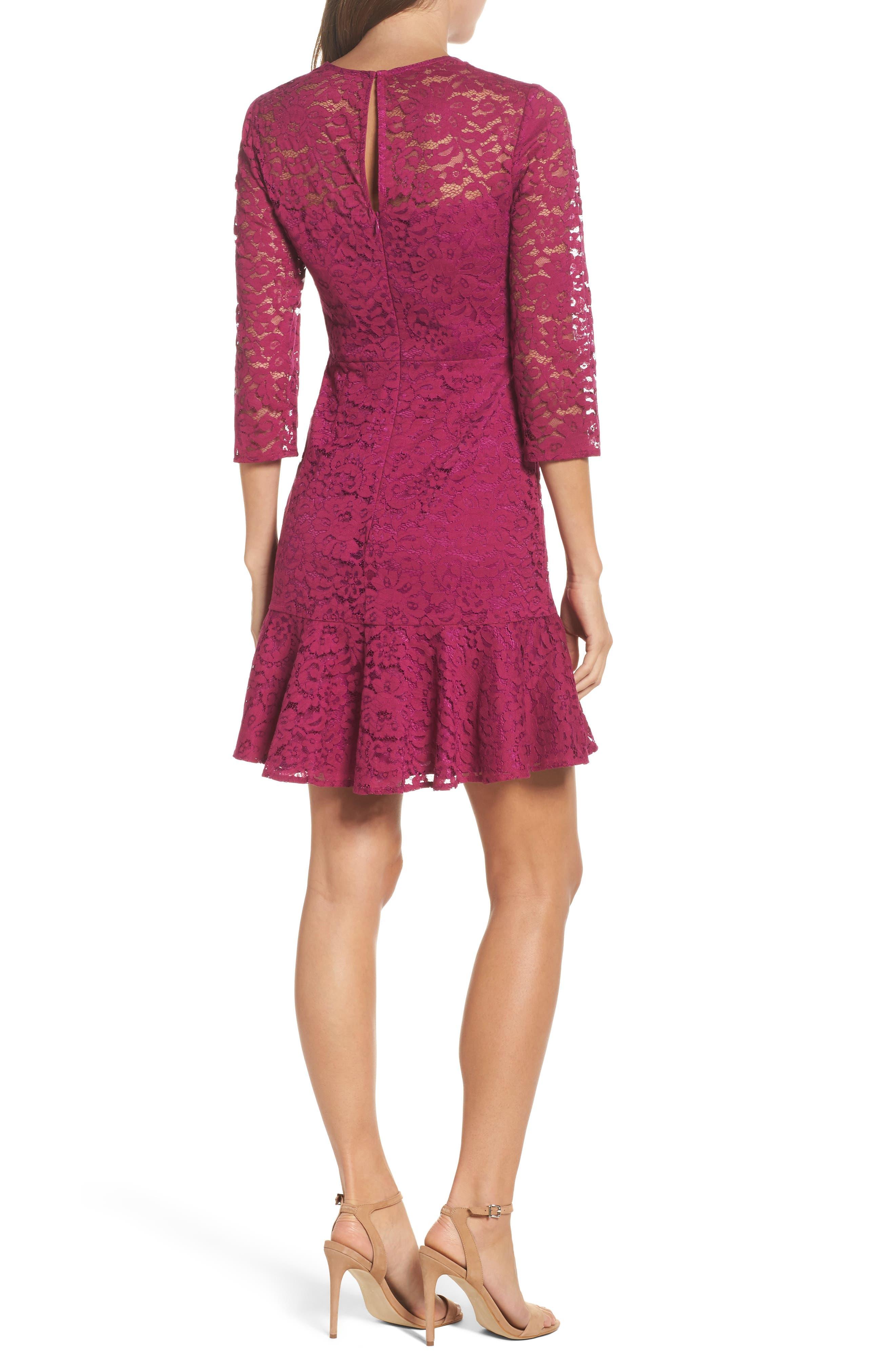 Stanley Lace Fit & Flare Dress,                             Alternate thumbnail 2, color,                             Dewberry