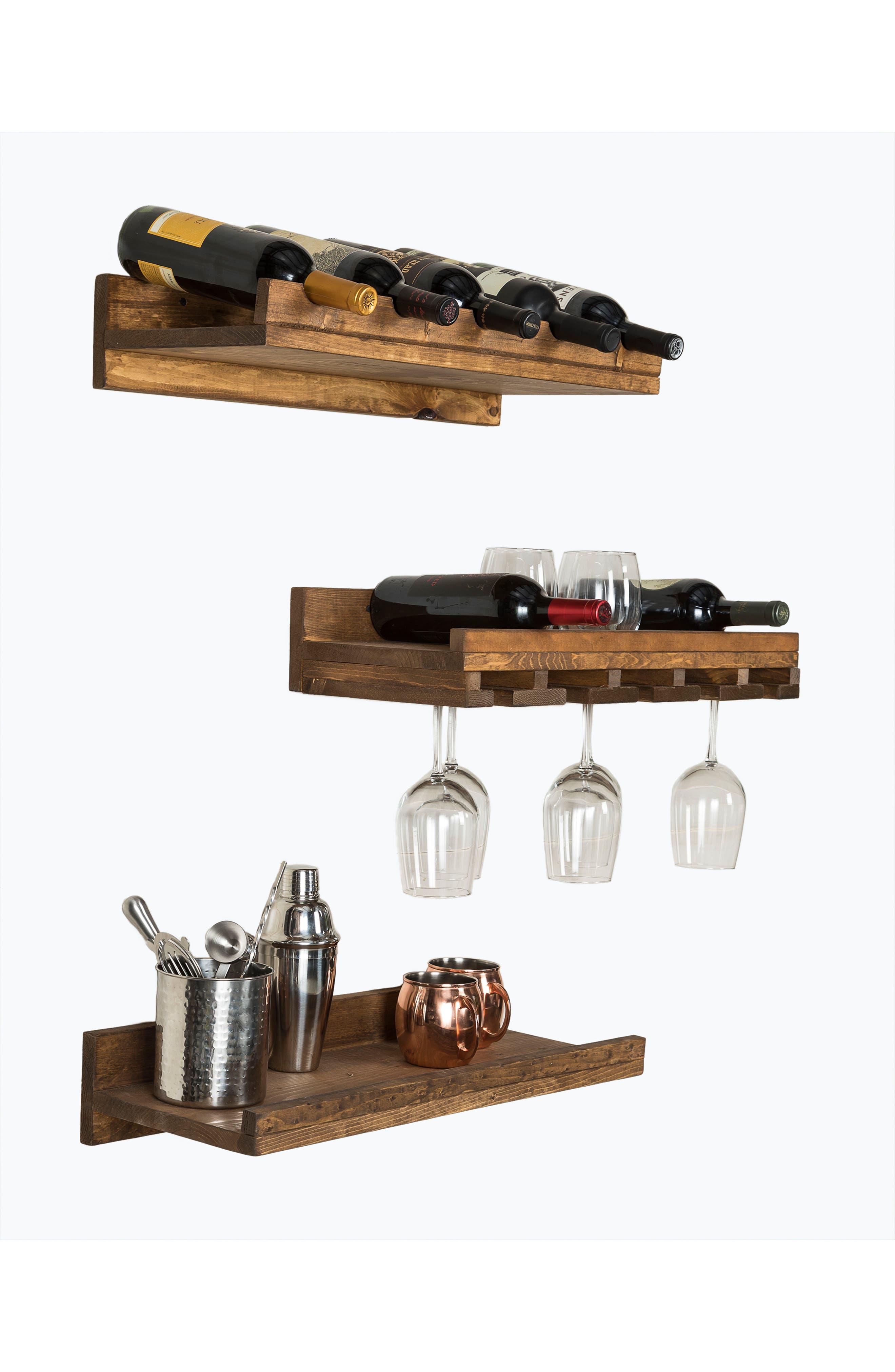 Set of 3 Pine Wood Wine Racks,                             Alternate thumbnail 2, color,                             Dark Walnut