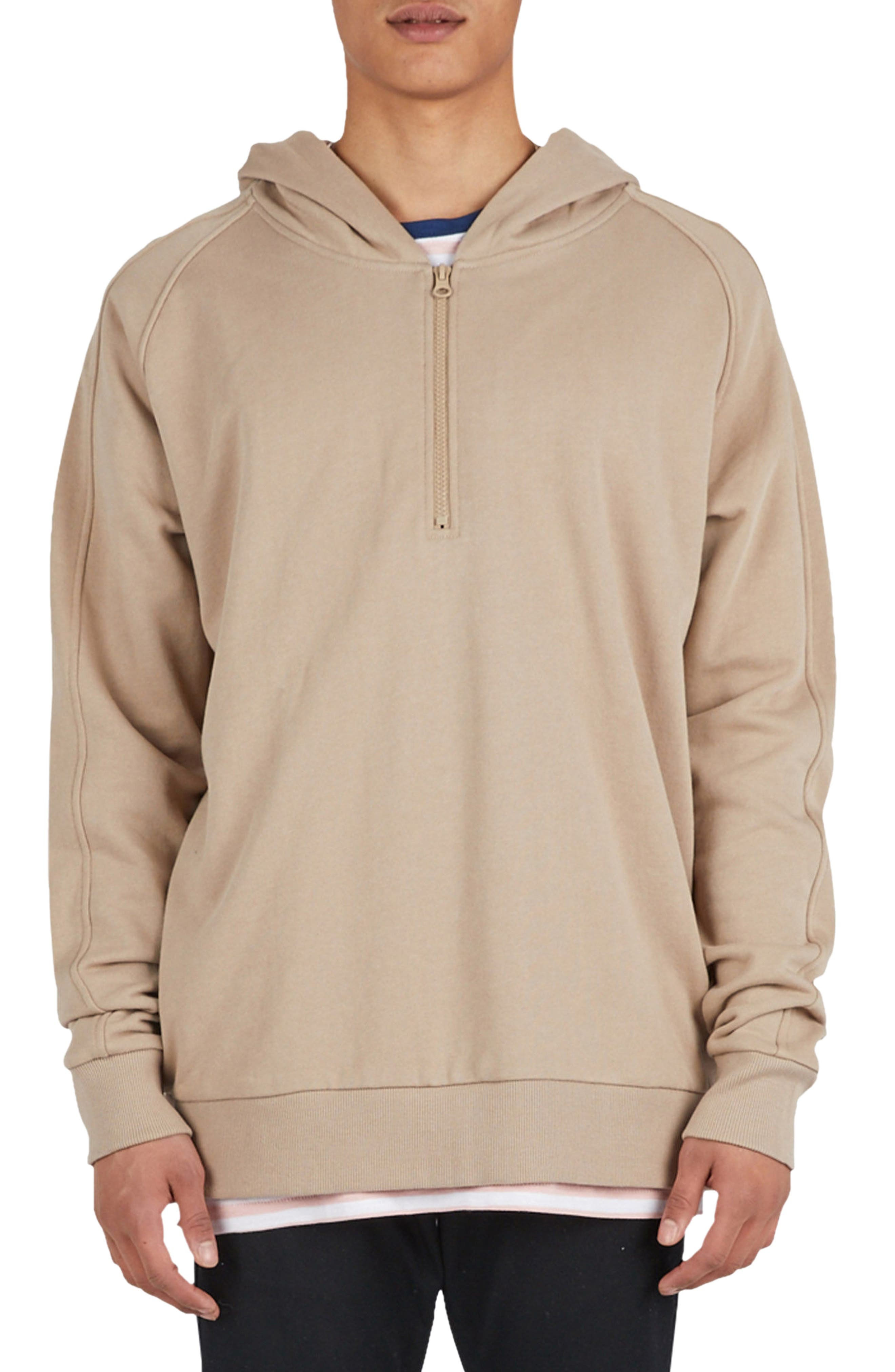 Olympic Zip Pullover Hoodie,                             Main thumbnail 1, color,                             Beige