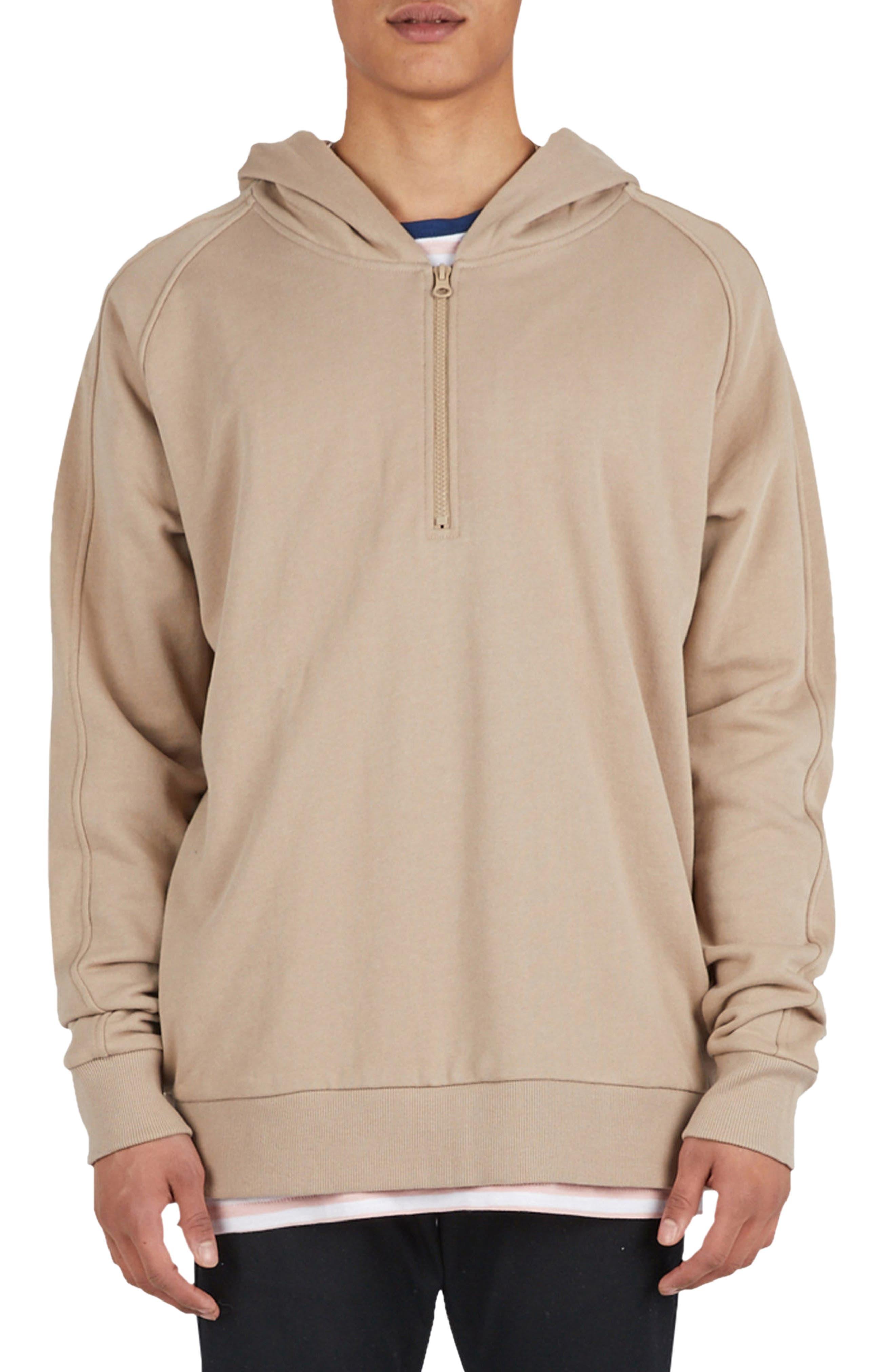 Olympic Zip Pullover Hoodie,                         Main,                         color, Beige