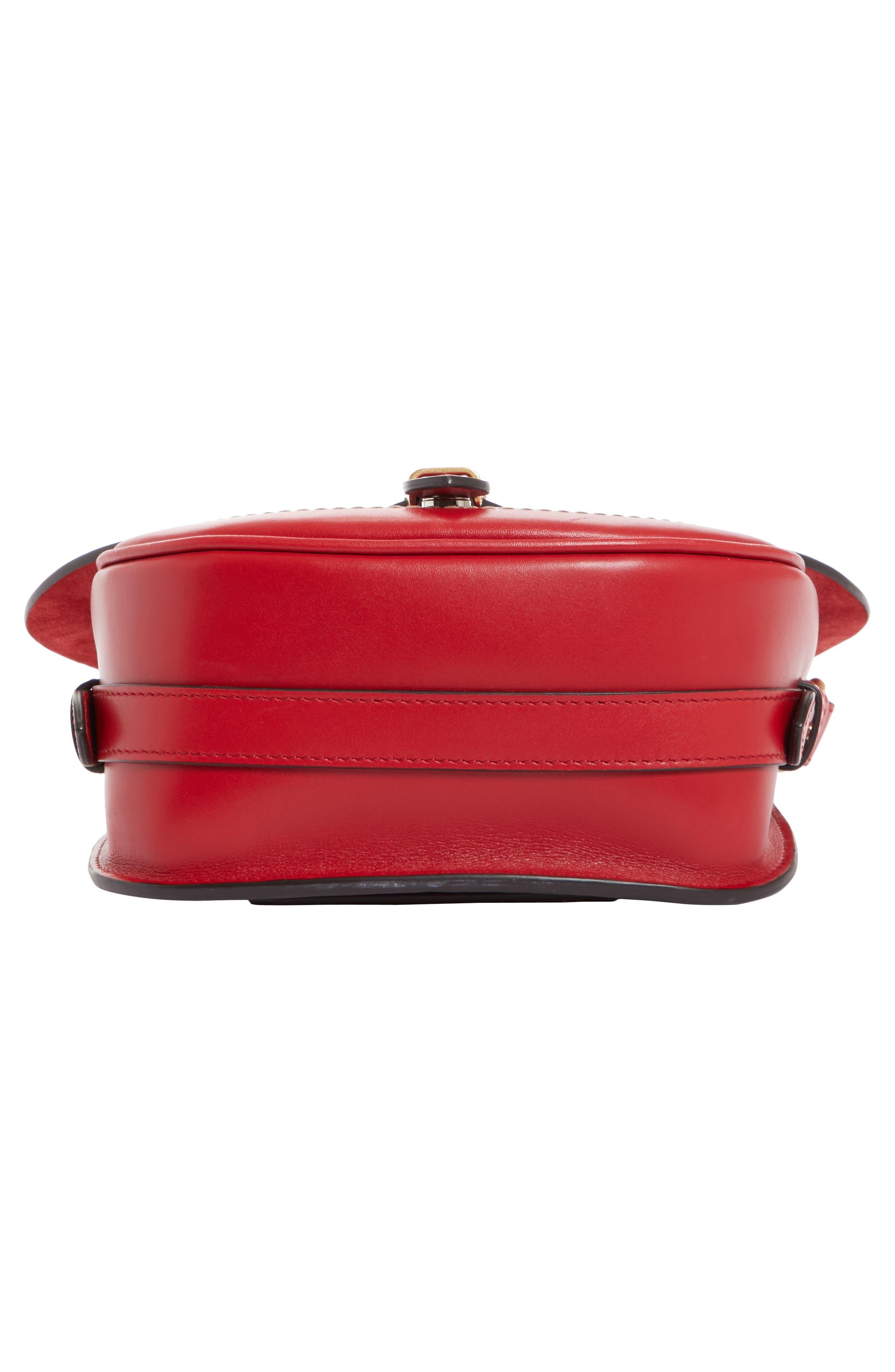 Small Bag-Slide Leather Shoulder Bag,                             Alternate thumbnail 6, color,                             Red