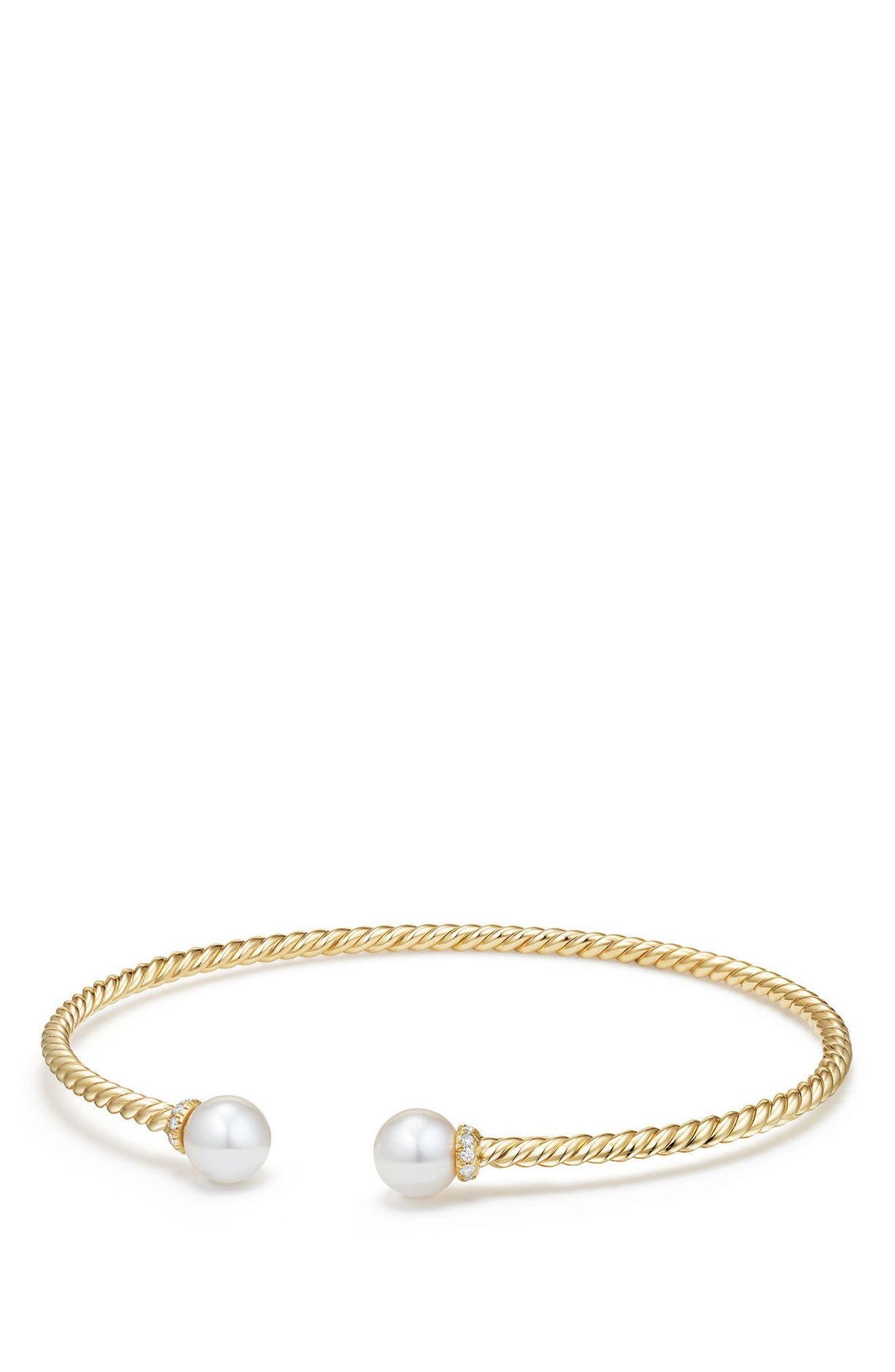 Solari Pearl Bracelet with Diamonds in 18K Gold,                         Main,                         color, Yellow Gold/ Diamond