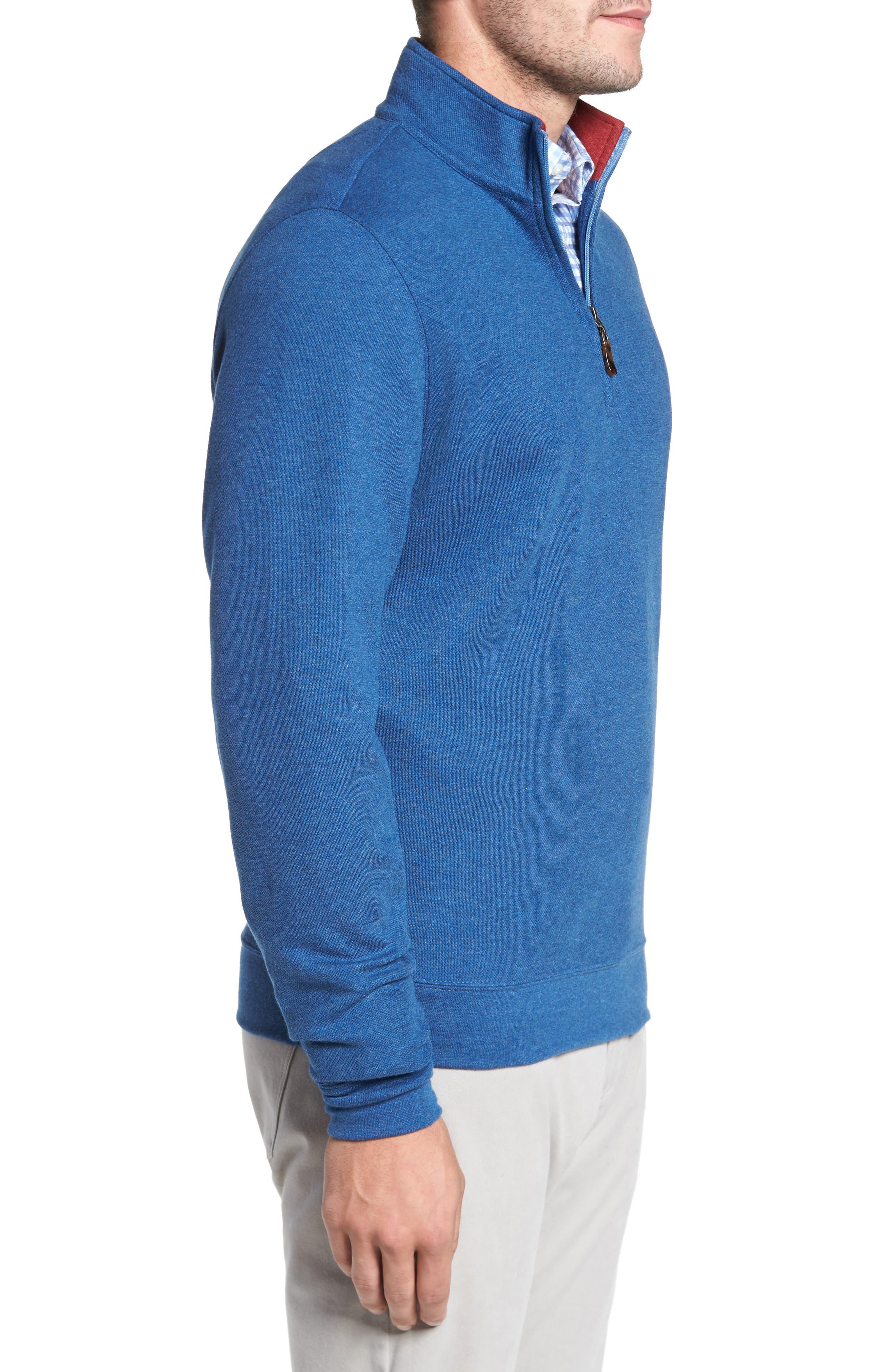 Mélange Quarter Zip Pullover,                             Alternate thumbnail 3, color,                             Blue