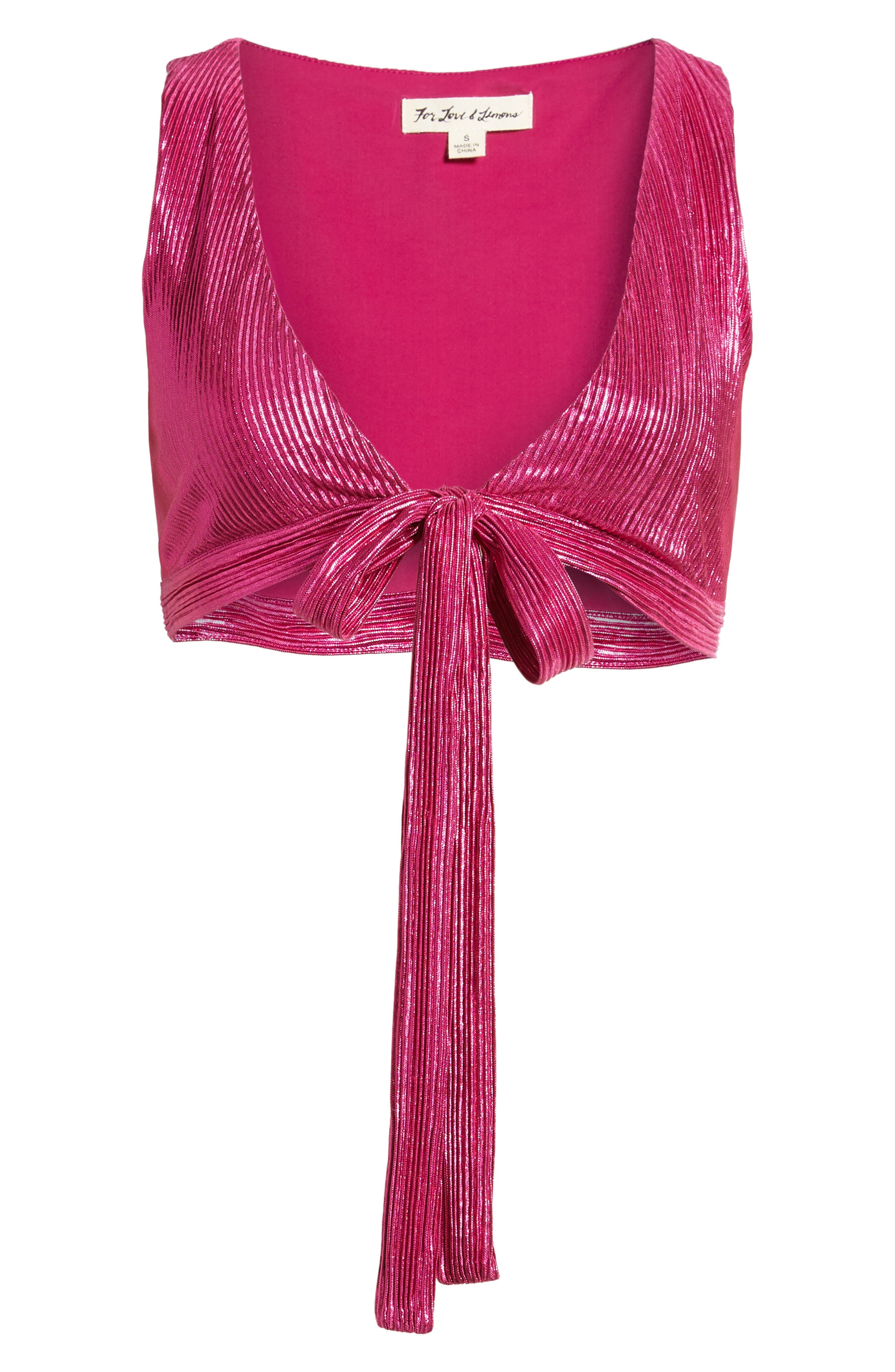 Marion Tie Crop Top,                             Alternate thumbnail 7, color,                             Fuchsia