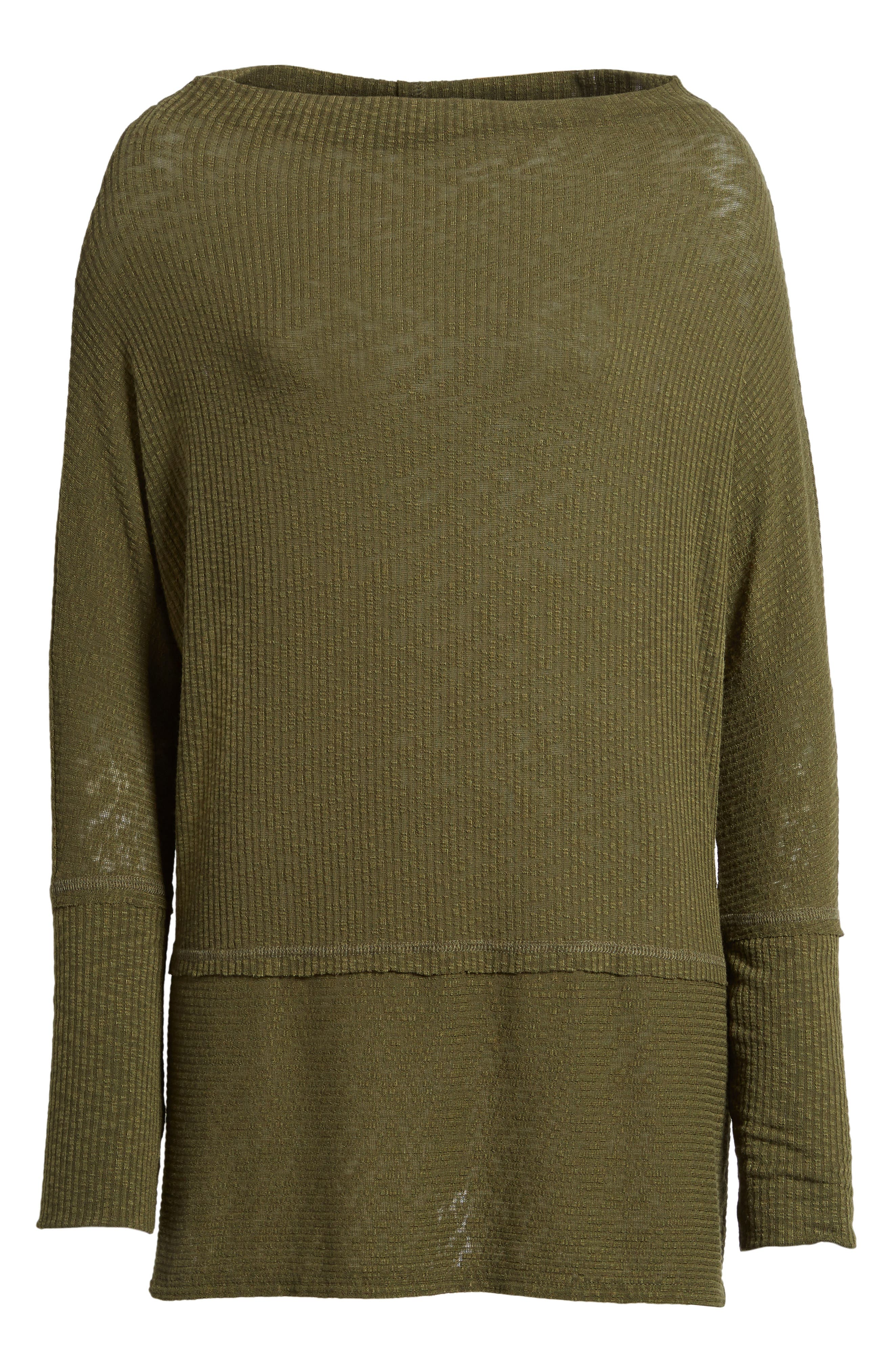 Convertible Wide Neck Top,                             Alternate thumbnail 6, color,                             Olive