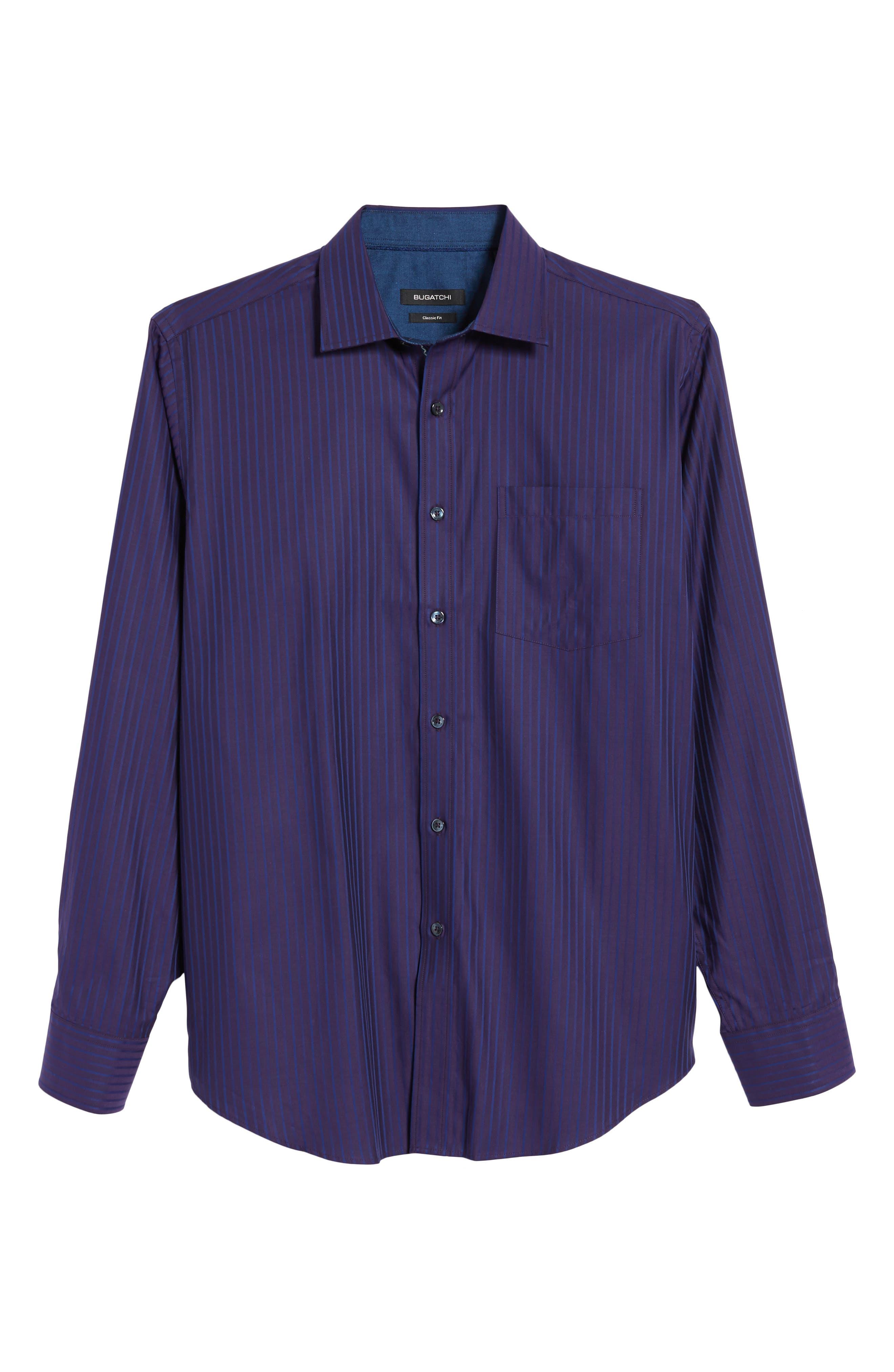 Alternate Image 6  - Bugatchi Classic Fit Stripe Sport Shirt