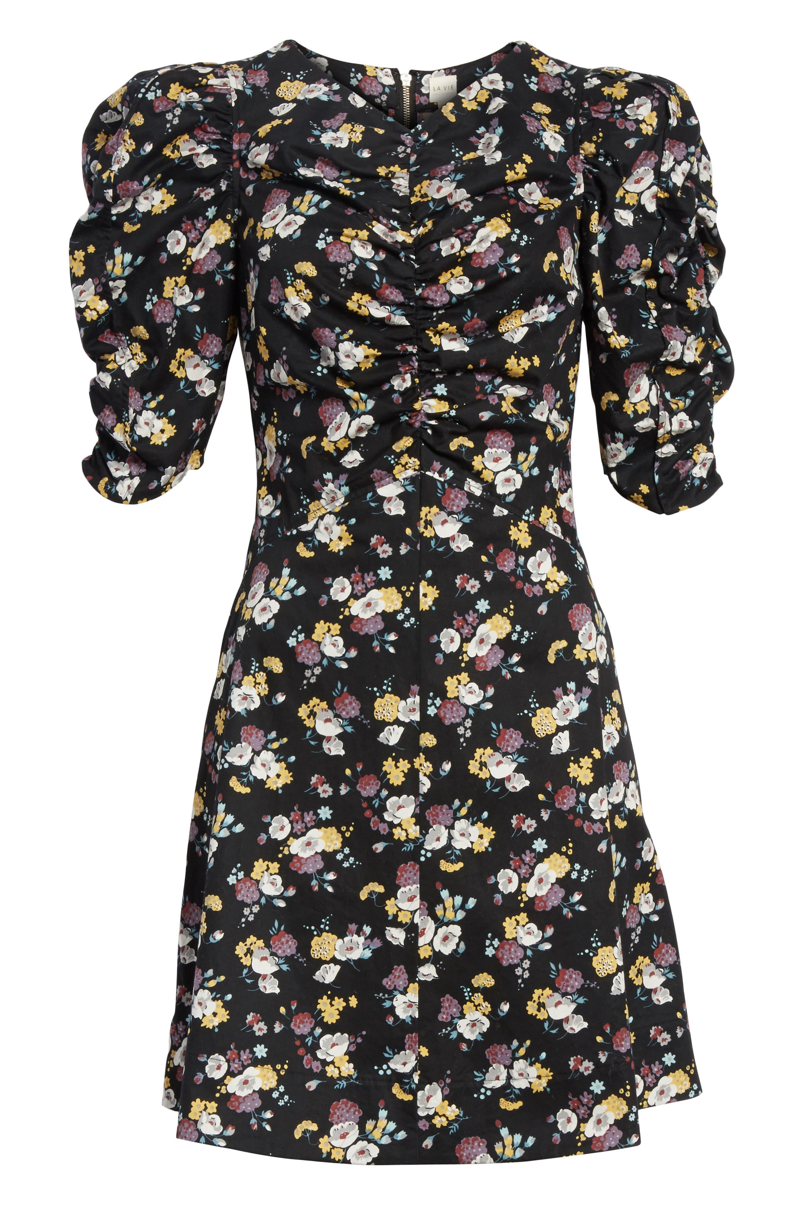 Winter Posey Fit & Flare Dress,                             Alternate thumbnail 6, color,                             Black Combo