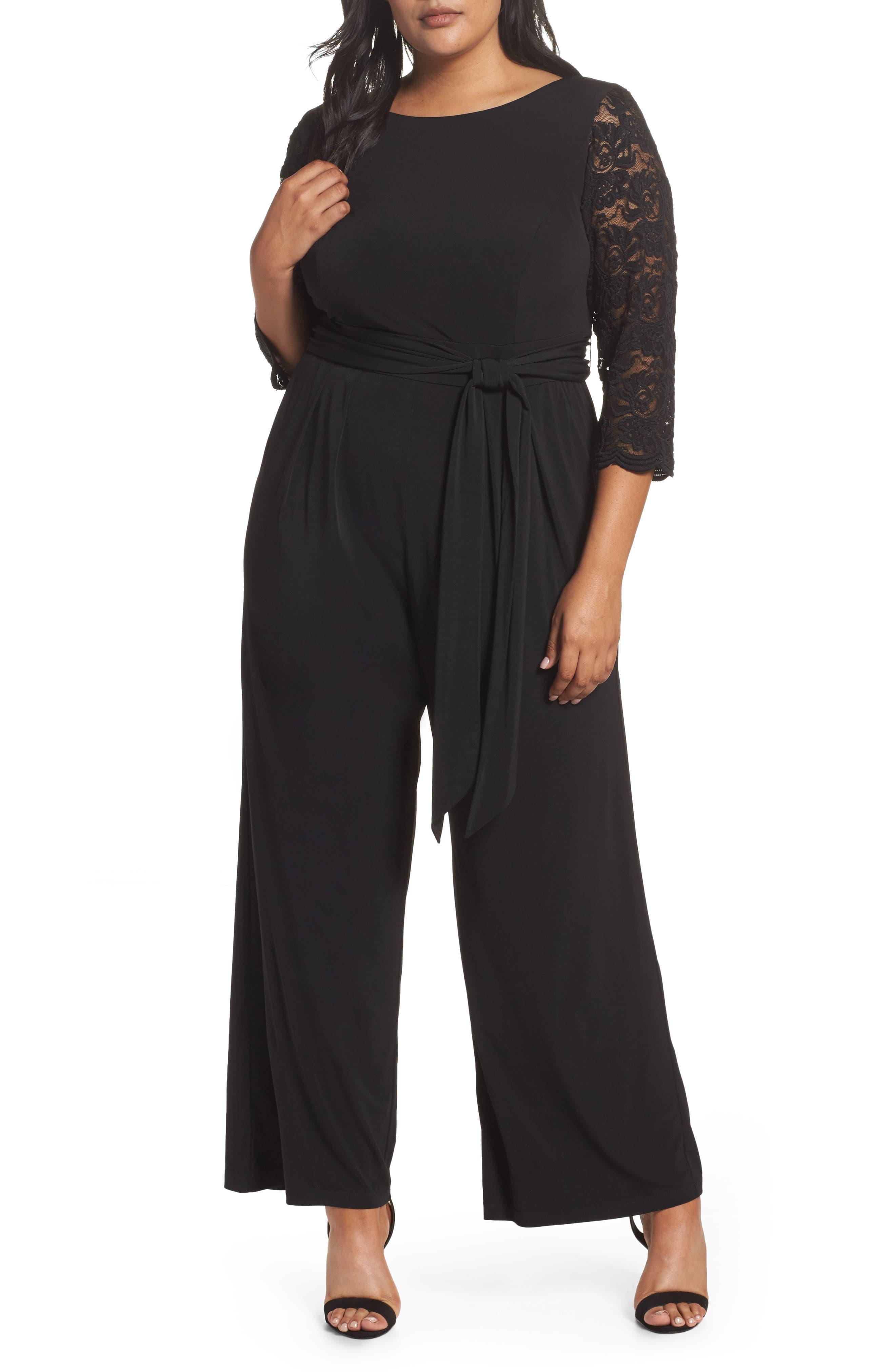 Lace Sleeve Jumpsuit,                         Main,                         color, Black