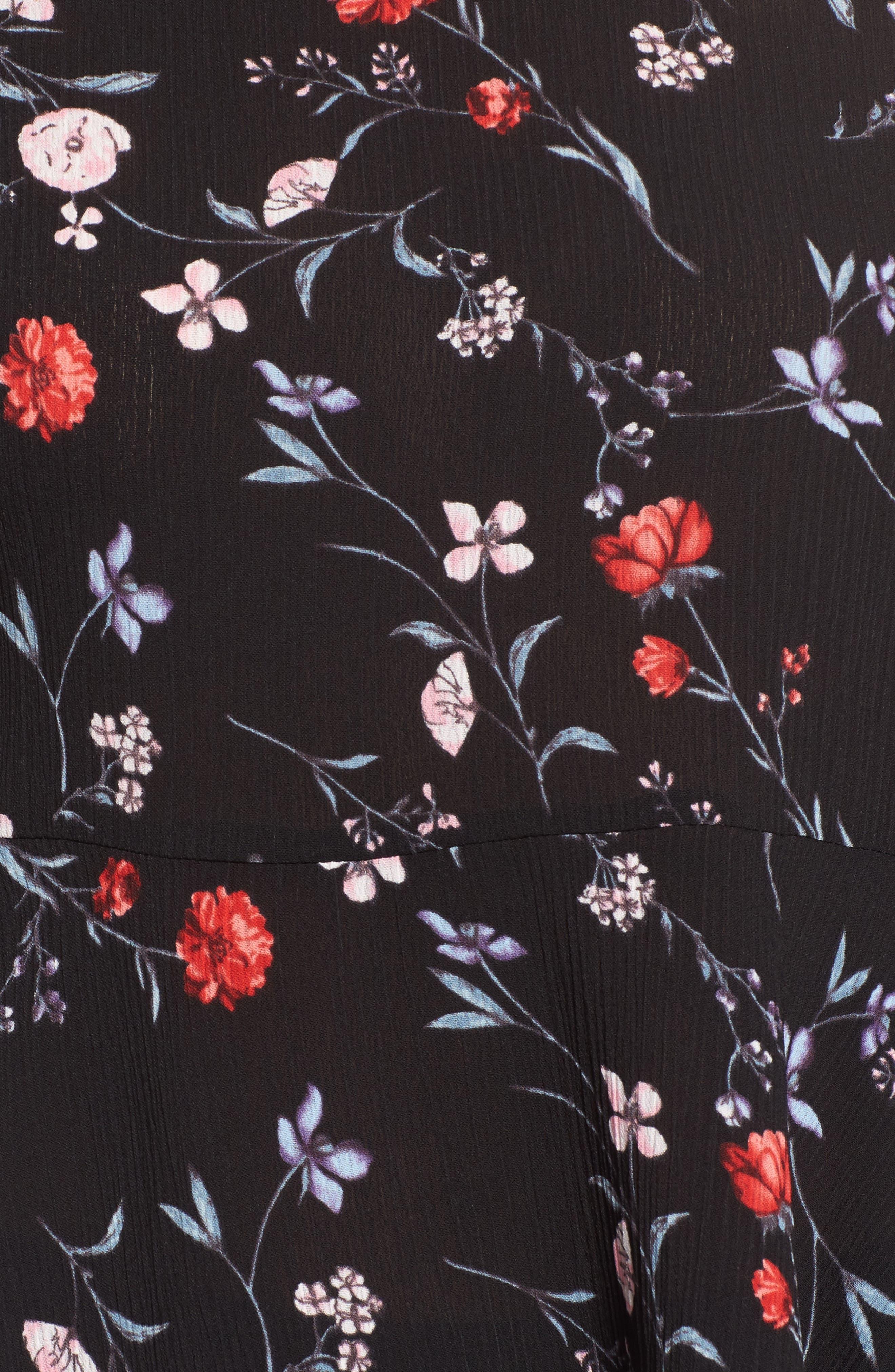 Tiered Ruffle Sleeve Peplum Blouse,                             Alternate thumbnail 5, color,                             Navy Print