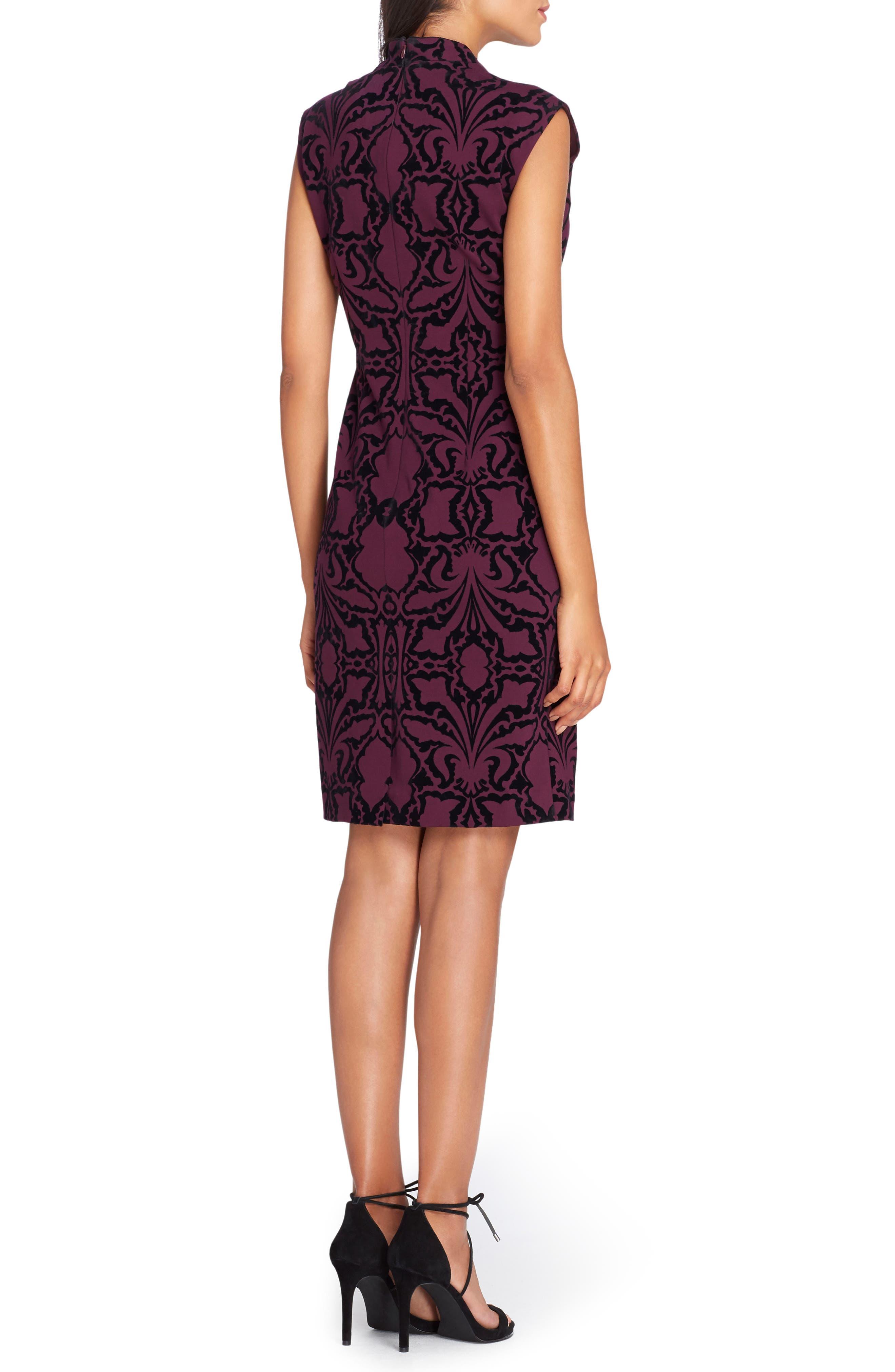 Scuba Body-Con Dress,                             Alternate thumbnail 2, color,                             Bordeaux/ Black
