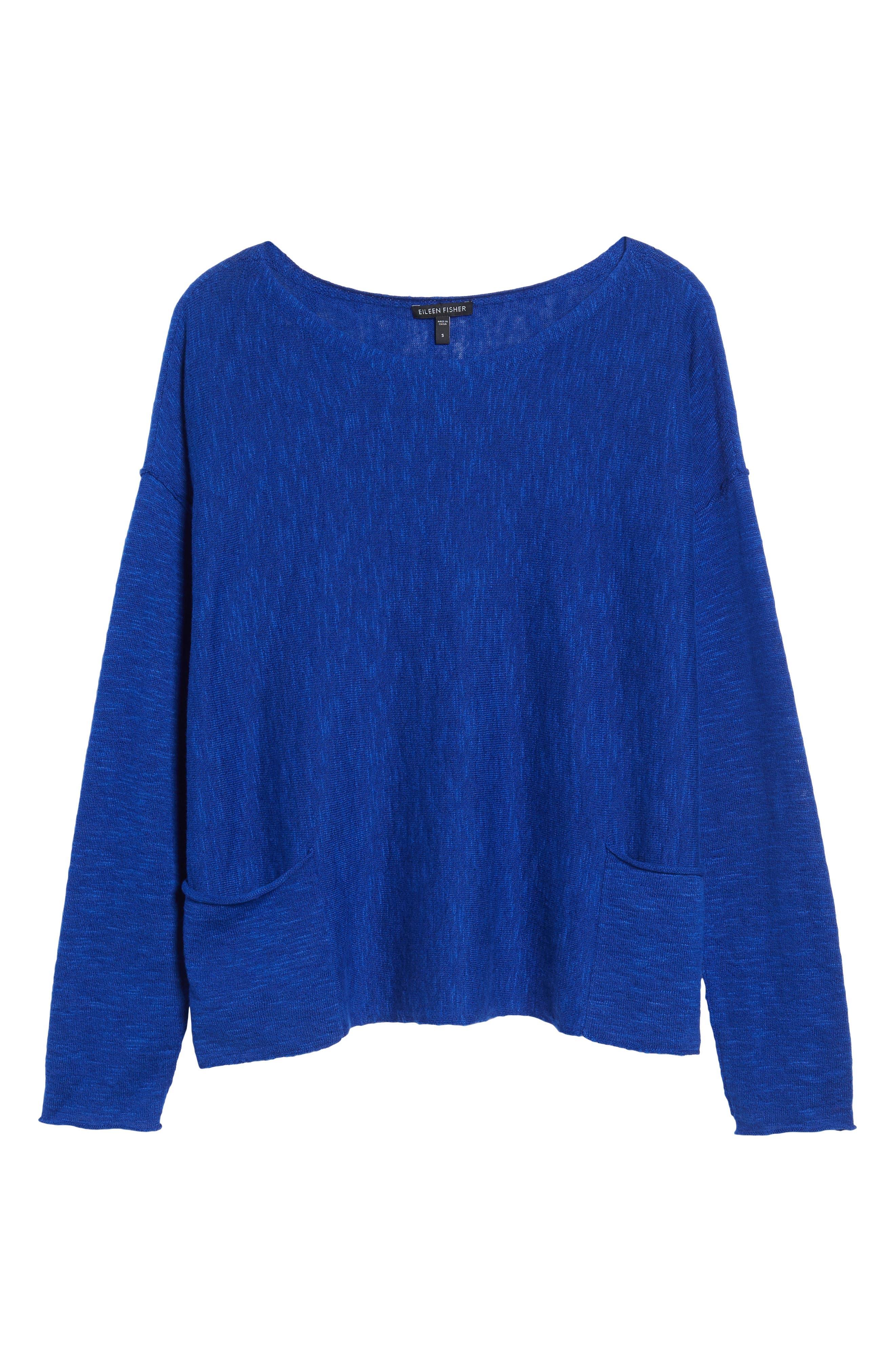 Organic Linen & Cotton Knit Boxy Top,                         Main,                         color, Royal