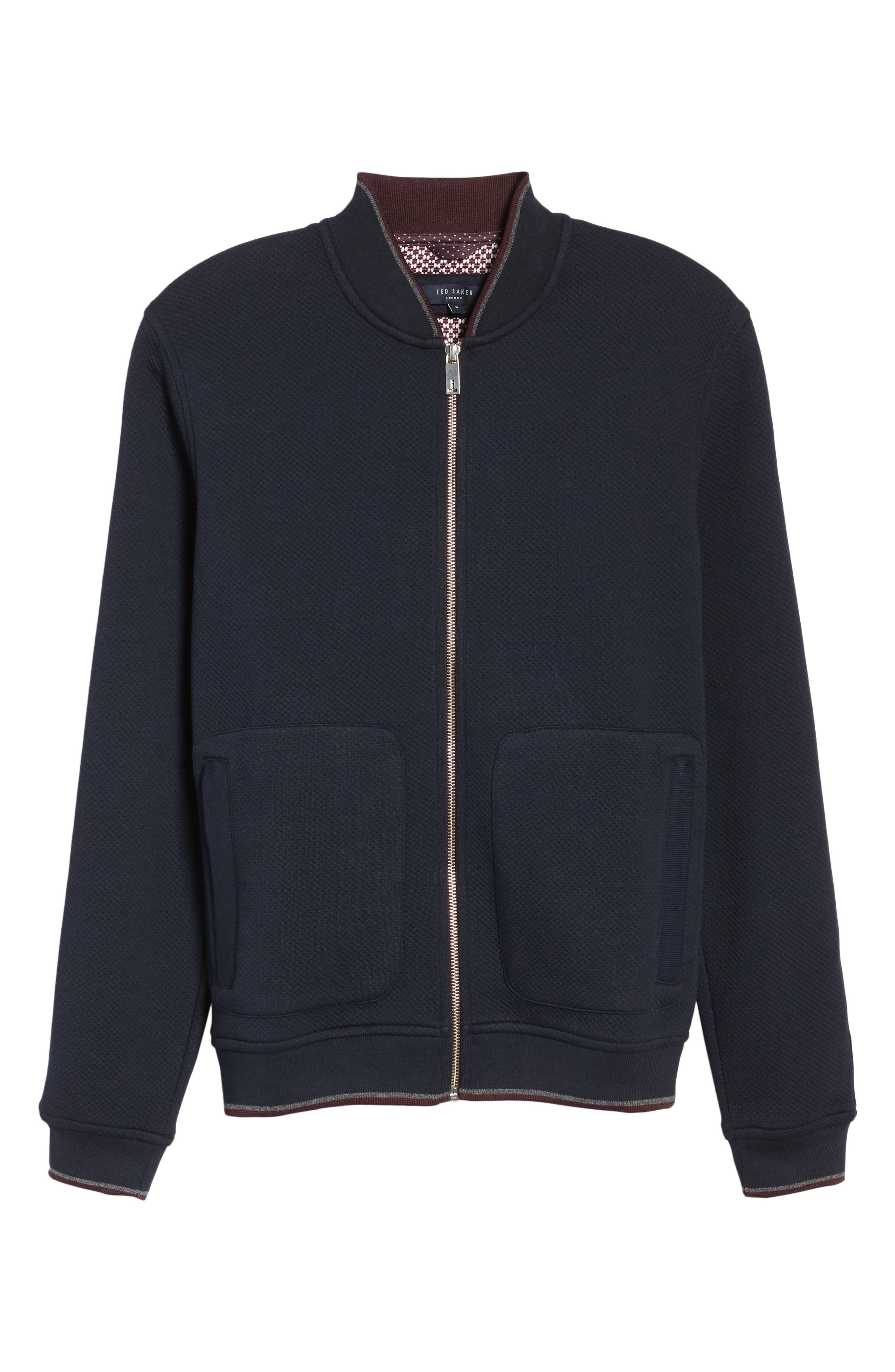 Whatts Trim Fit Textured Bomber Jacket,                             Alternate thumbnail 6, color,                             Navy