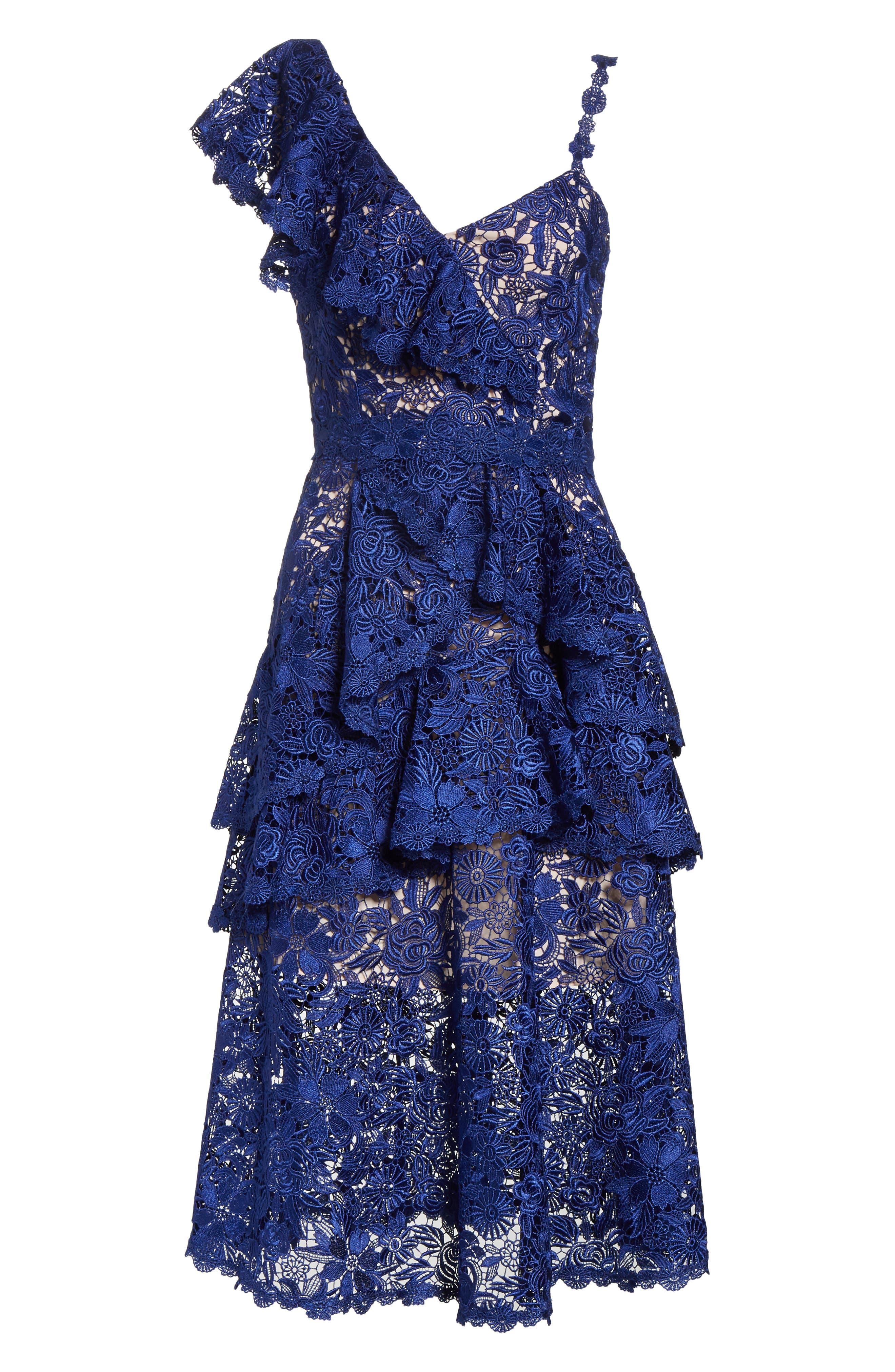Florrie Ruffled Lace Midi Dress,                             Alternate thumbnail 6, color,                             Indigo/ Nude