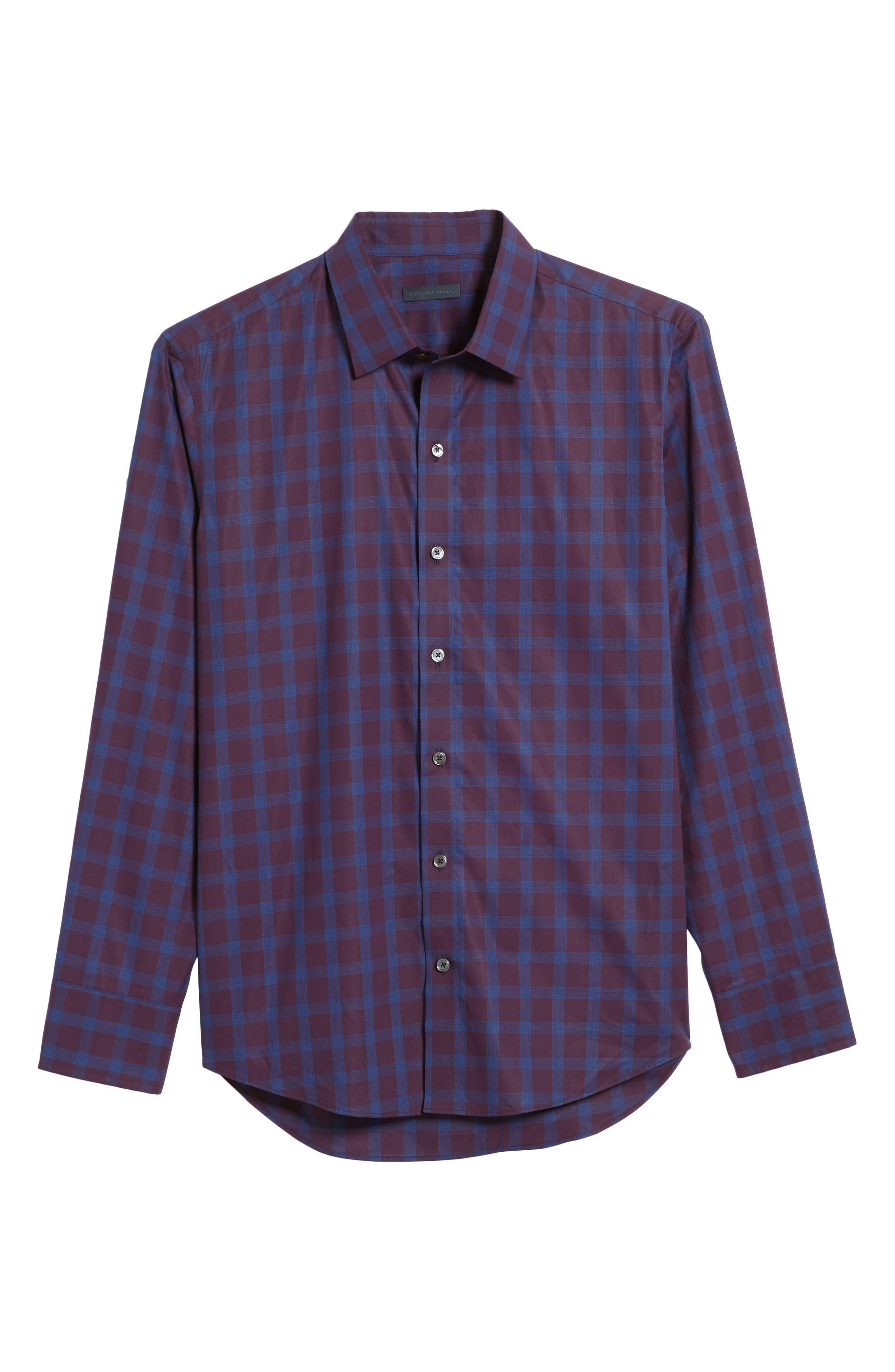 Raymond Check Sport Shirt,                             Alternate thumbnail 6, color,                             Burgundy