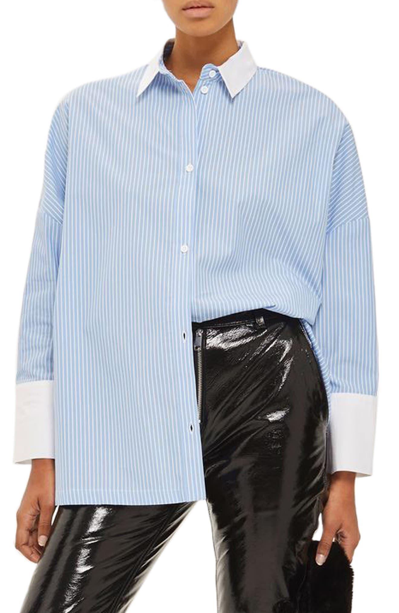 Topshop Oversize Stripe Shirt