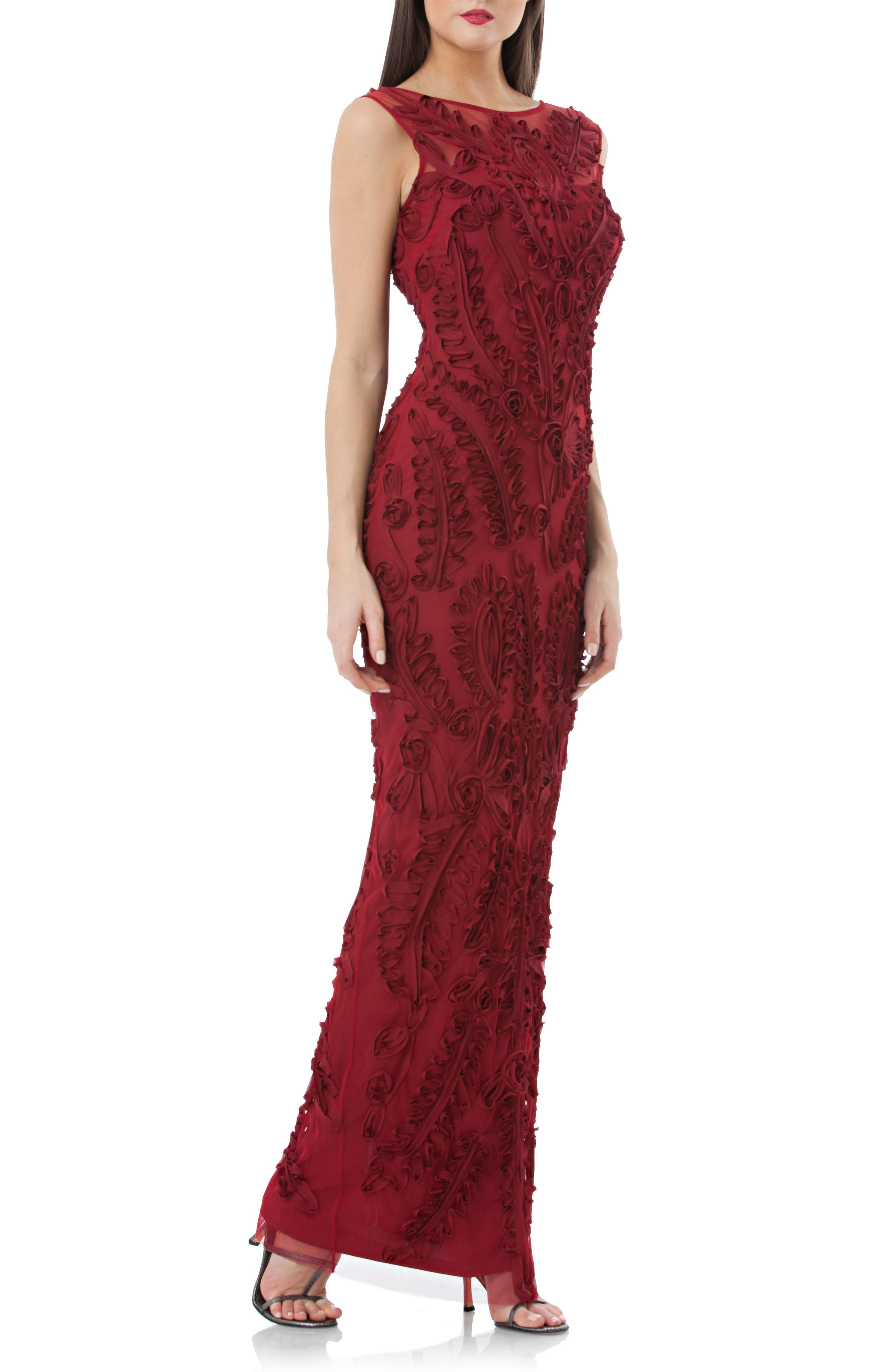 Alternate Image 1 Selected - JS Collections Mesh Column Gown