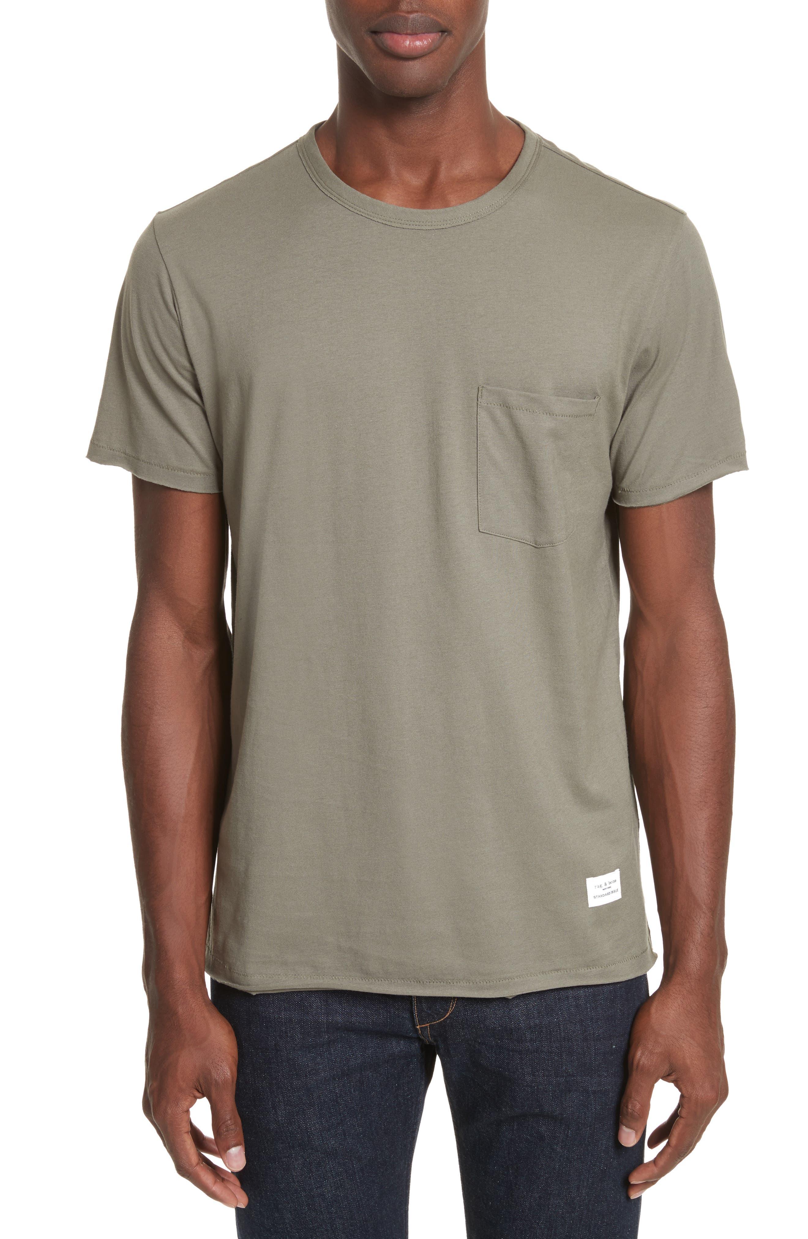 Raw Edge Pocket T-Shirt,                         Main,                         color, Sage