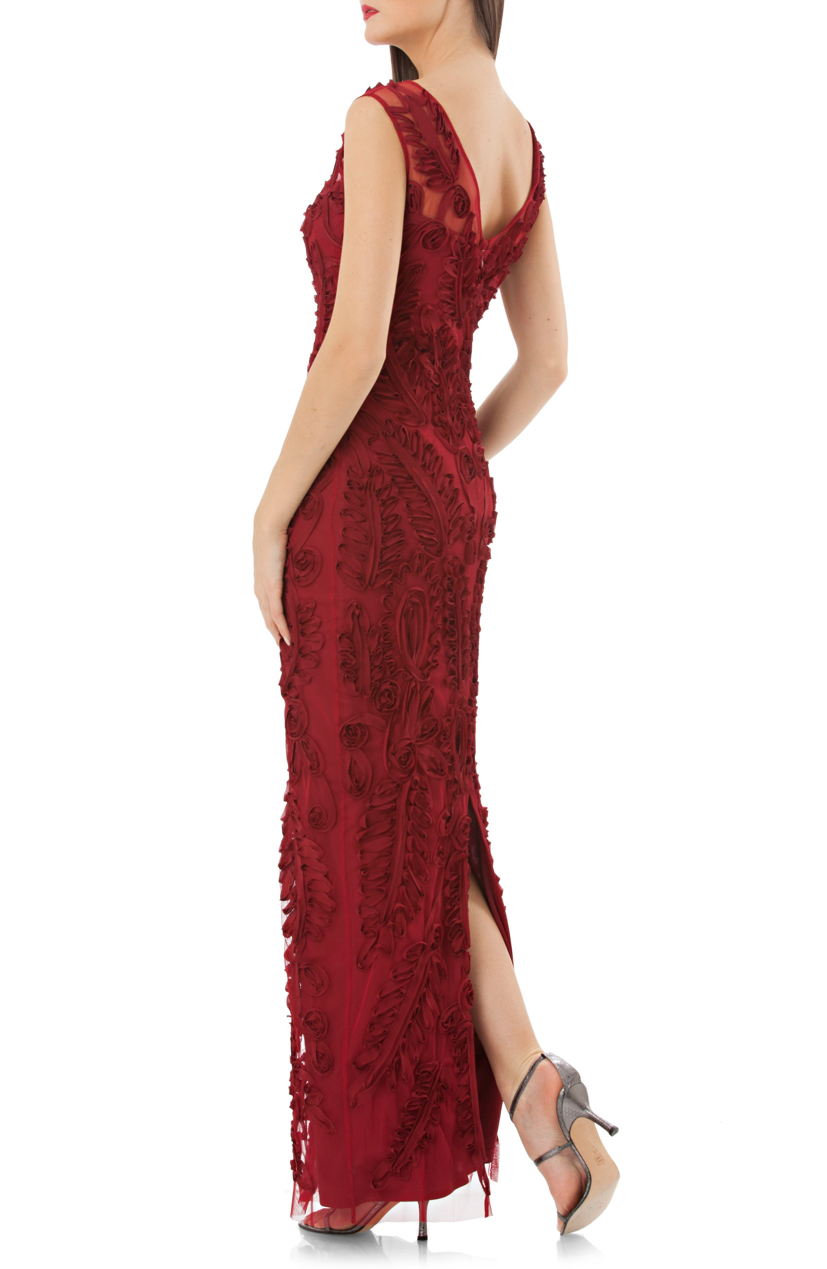 Alternate Image 2  - JS Collections Mesh Column Gown