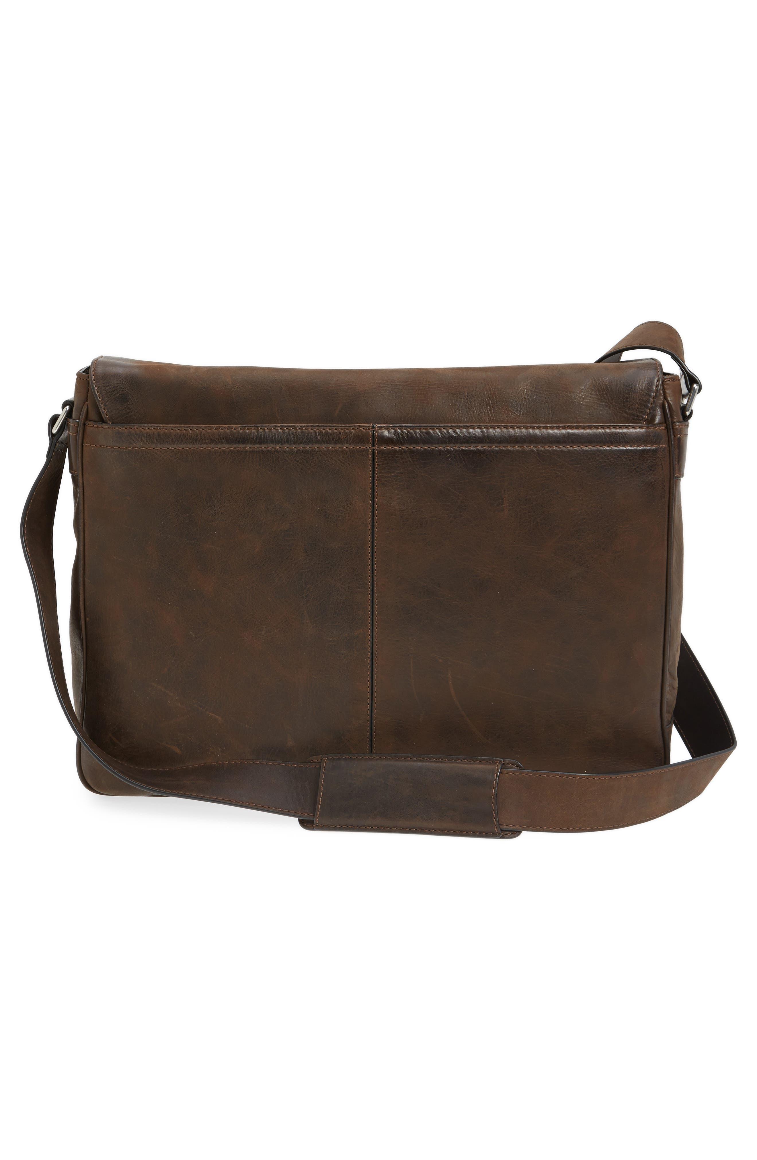 Oliver Leather Messenger Bag,                             Alternate thumbnail 3, color,                             Dark Brown