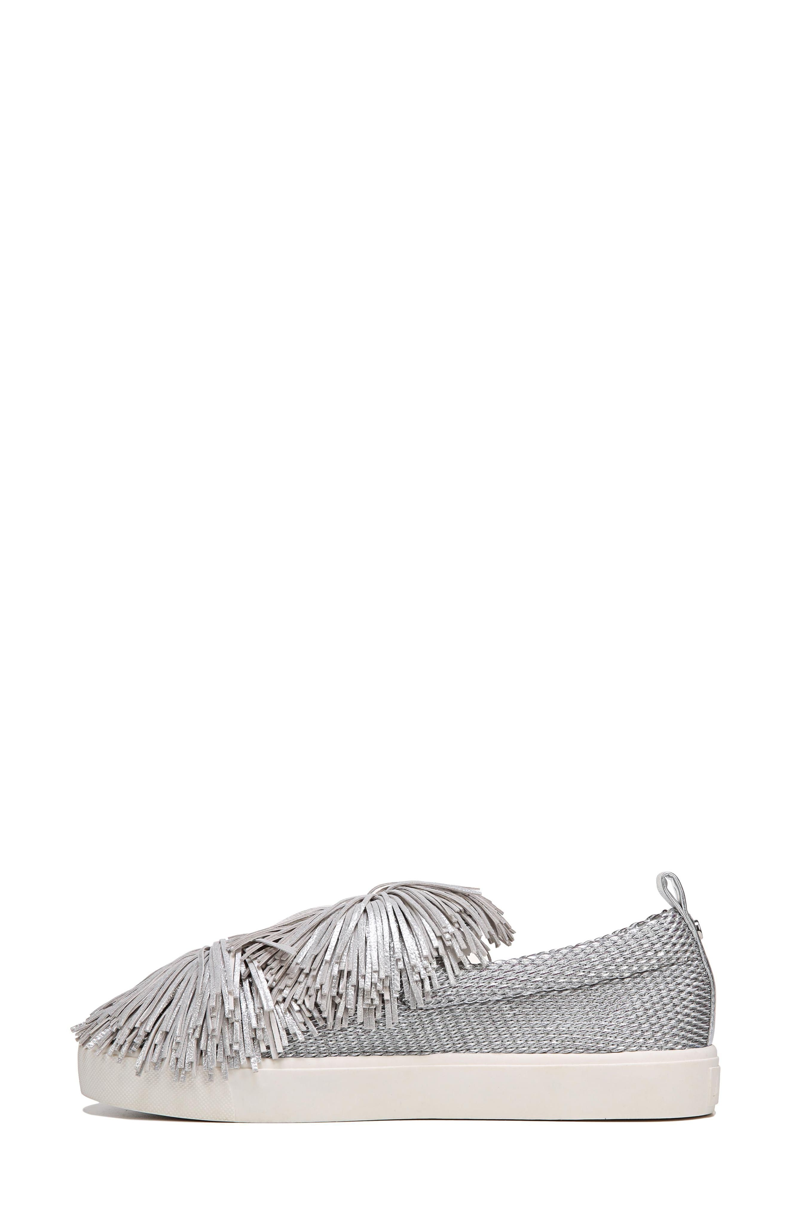 Emory Fringe Pompom Sneaker,                             Alternate thumbnail 4, color,                             Metallic Silver