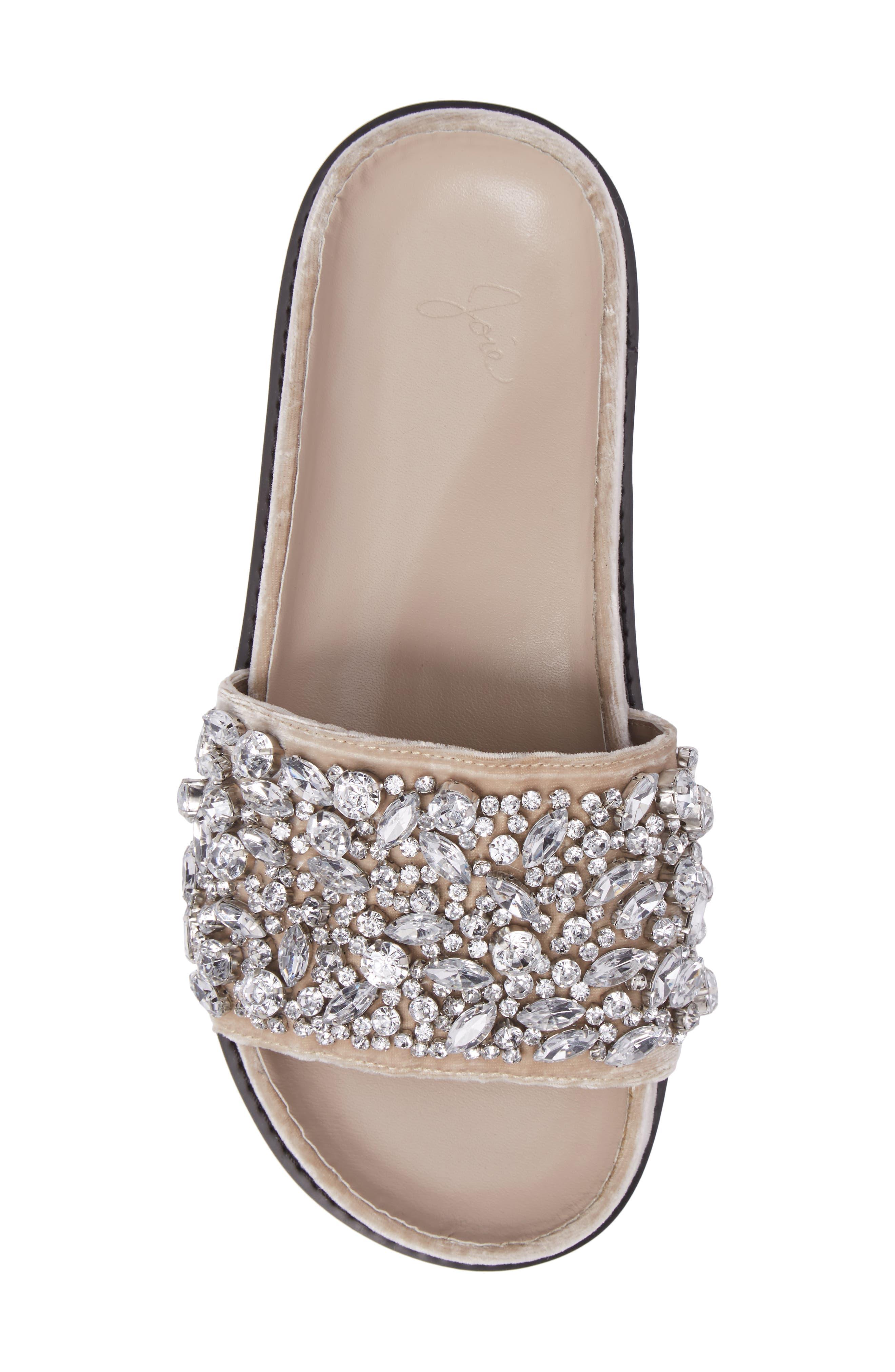 Jacory Crystal Embellished Slide Sandal,                             Alternate thumbnail 5, color,                             Fog