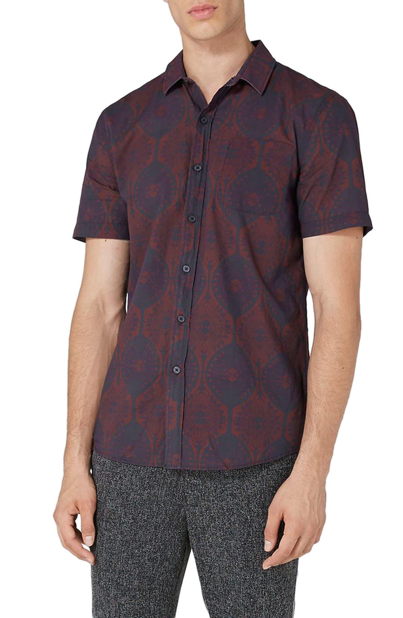 Topman Classic Fit Art Deco Shirt