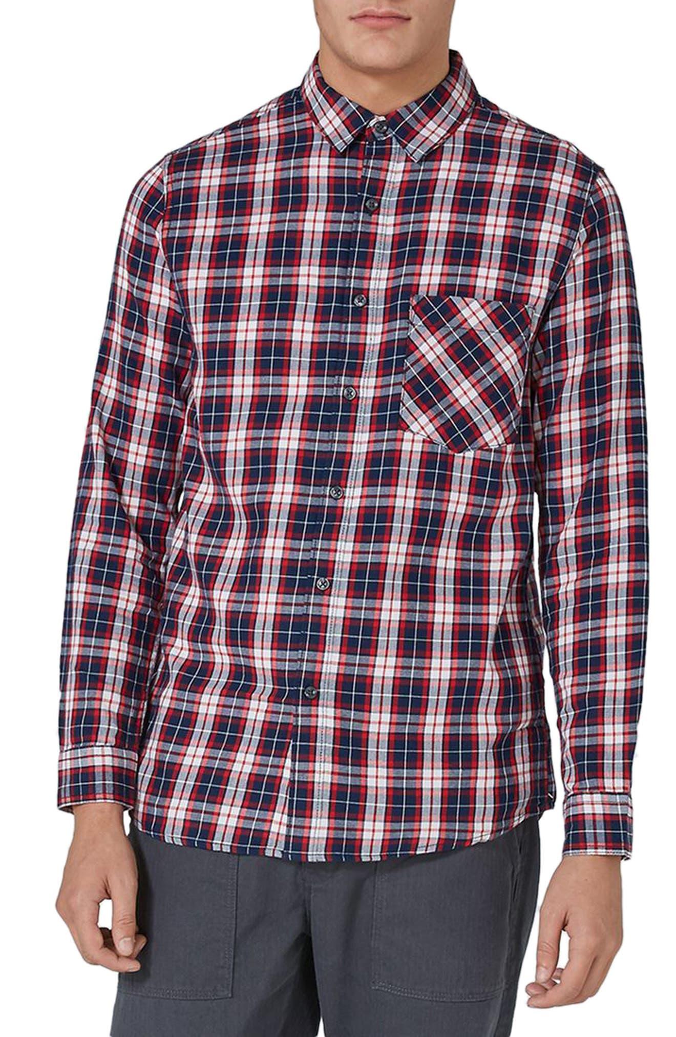Classic Fit Check Shirt,                             Main thumbnail 1, color,                             Navy Multi