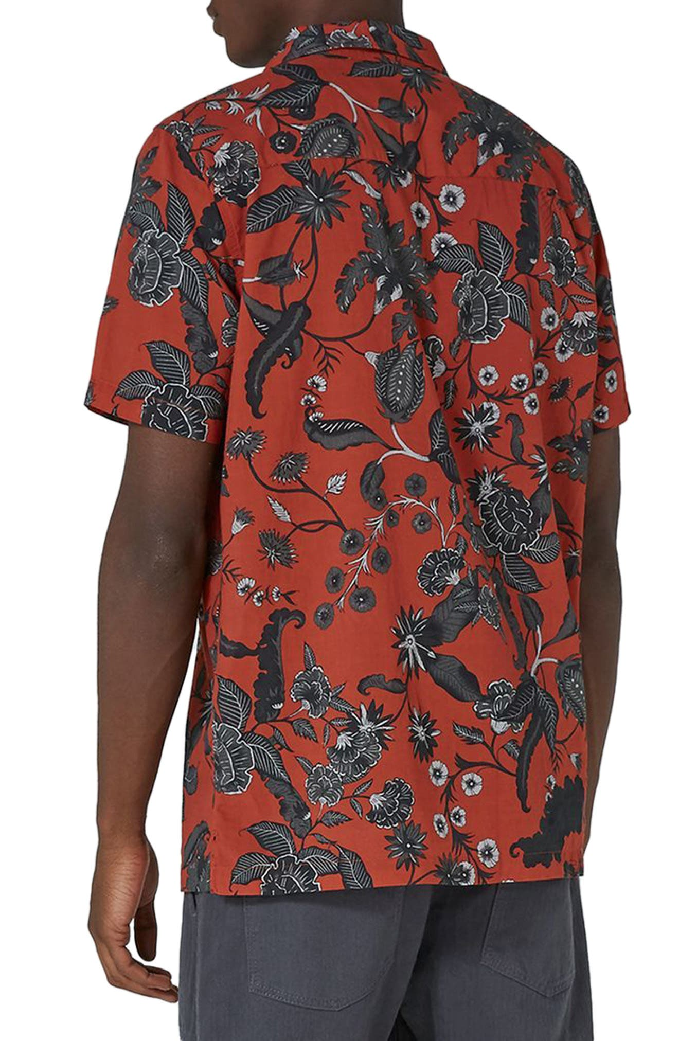 Red Floral Revere Collar Shirt,                             Alternate thumbnail 2, color,                             Red Multi