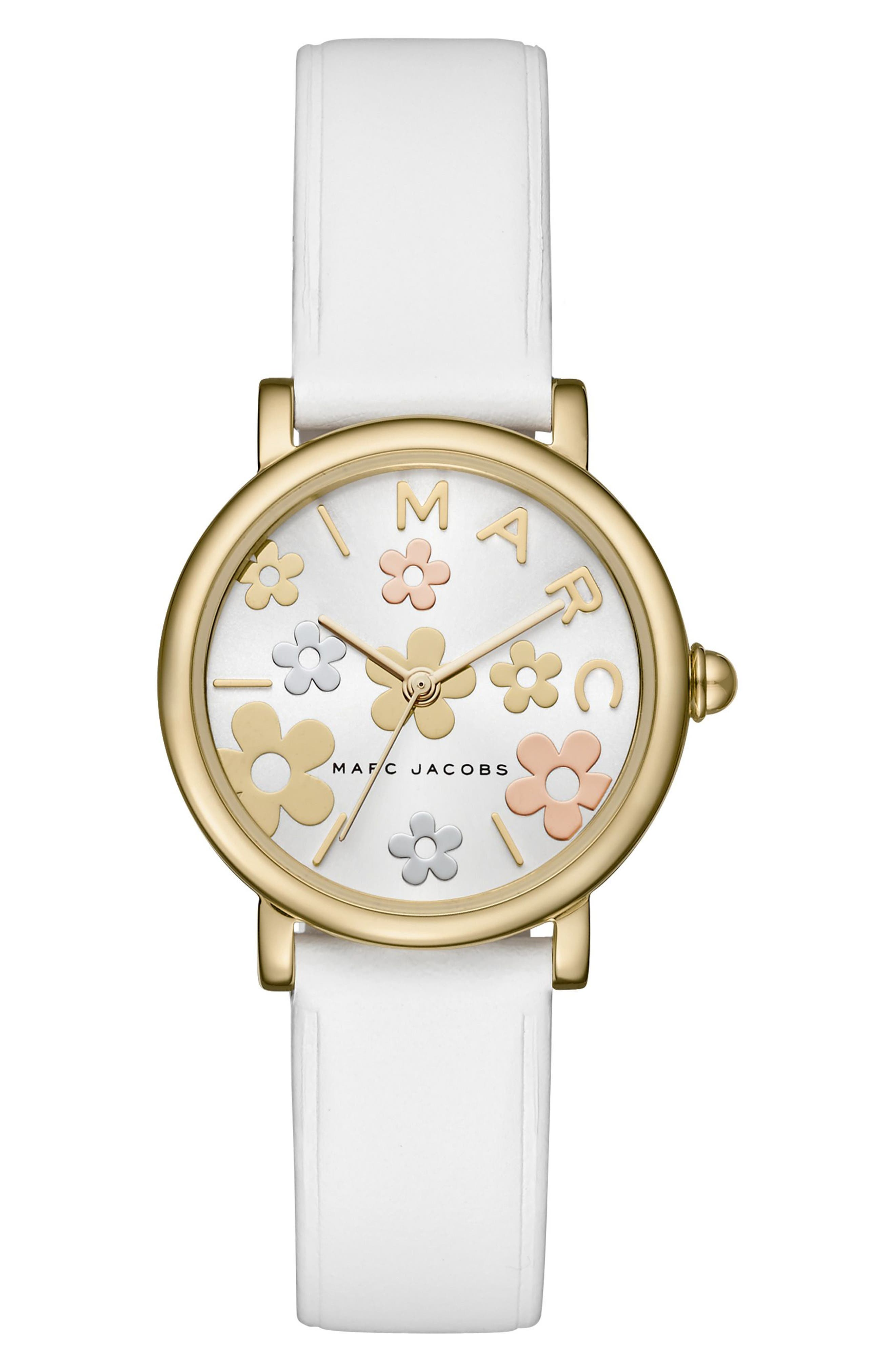 MARC JACOBS Classic Round Leather Strap Watch, 28mm