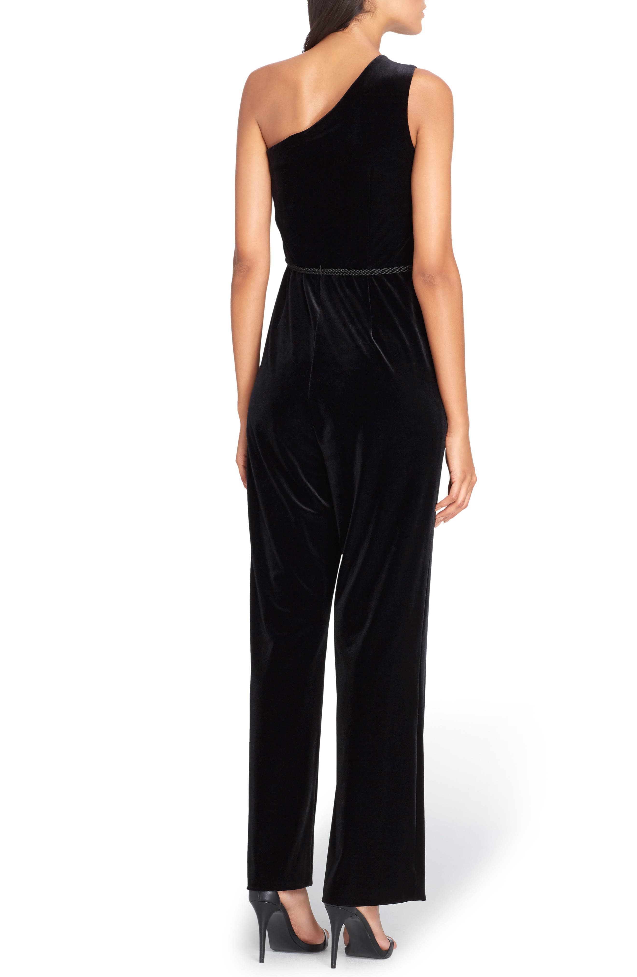 One-Shoulder Velvet Jumpsuit,                             Alternate thumbnail 2, color,                             Black
