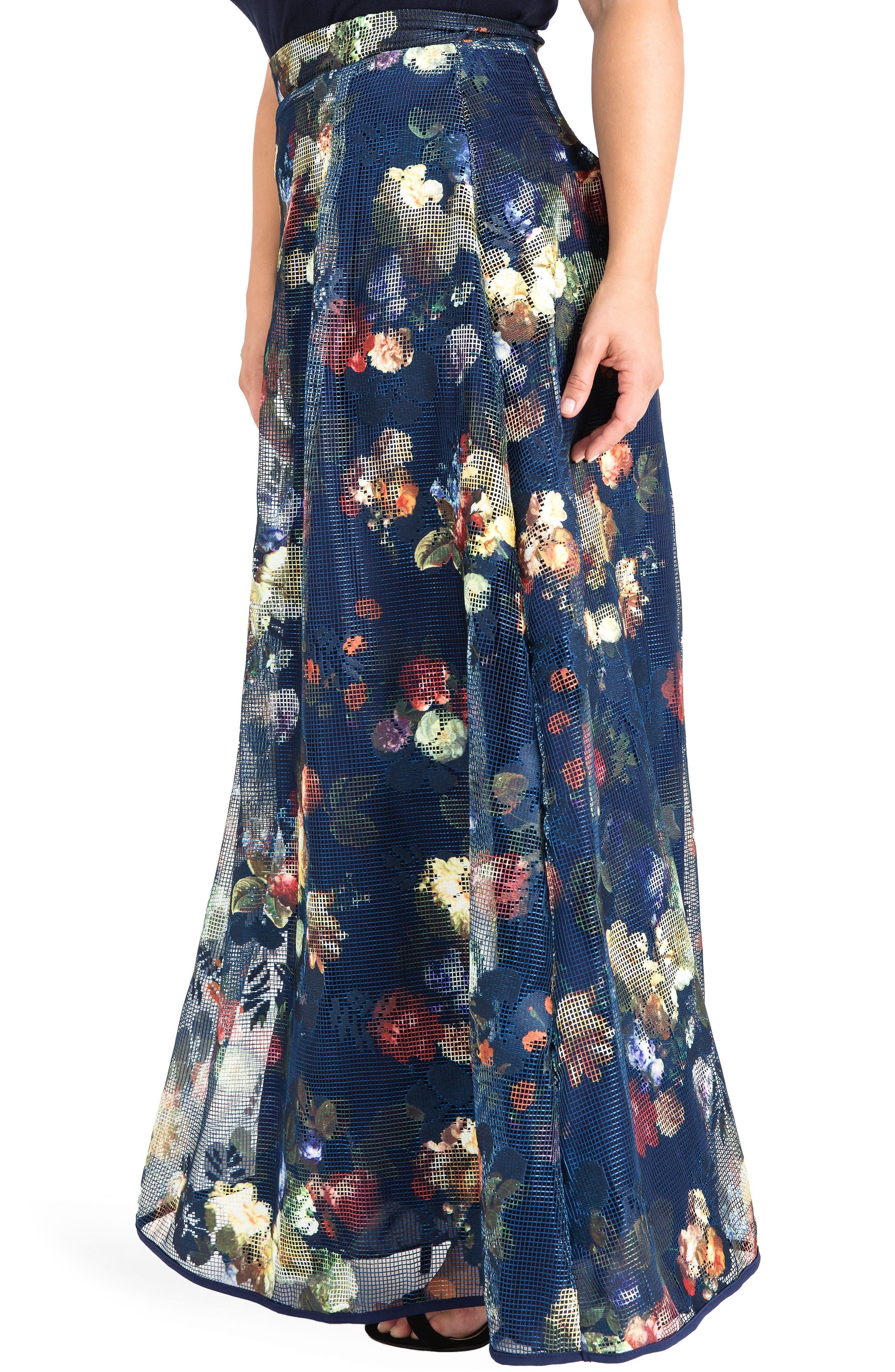 Iris Floral Mesh Maxi Skirt,                             Alternate thumbnail 3, color,                             Navy Floral