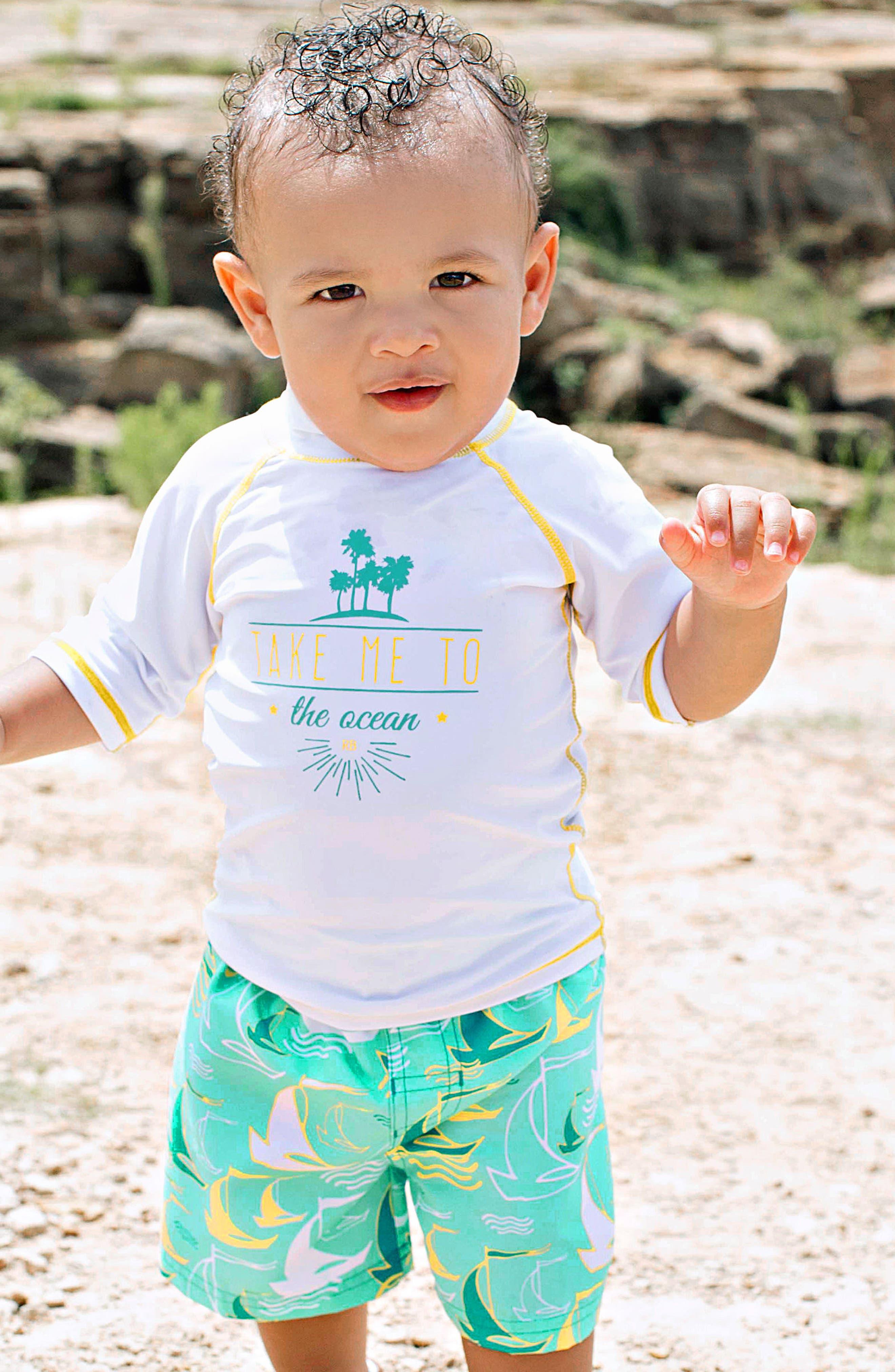 Alternate Image 2  - RuggedButts Two-Piece Rashguard Swimsuit (Baby Boys)