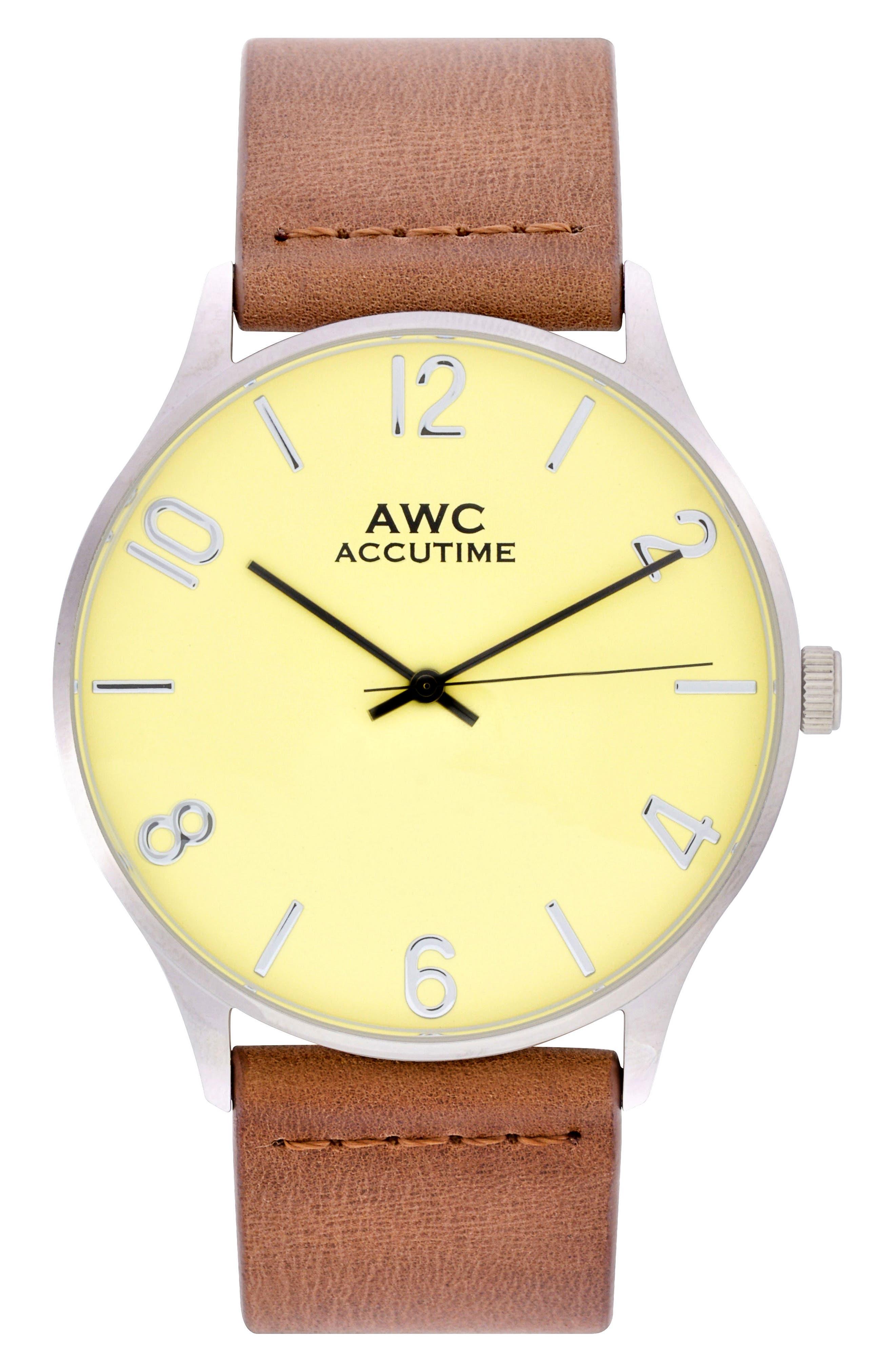 Accutime Numerial Suede Strap Watch, 42mm