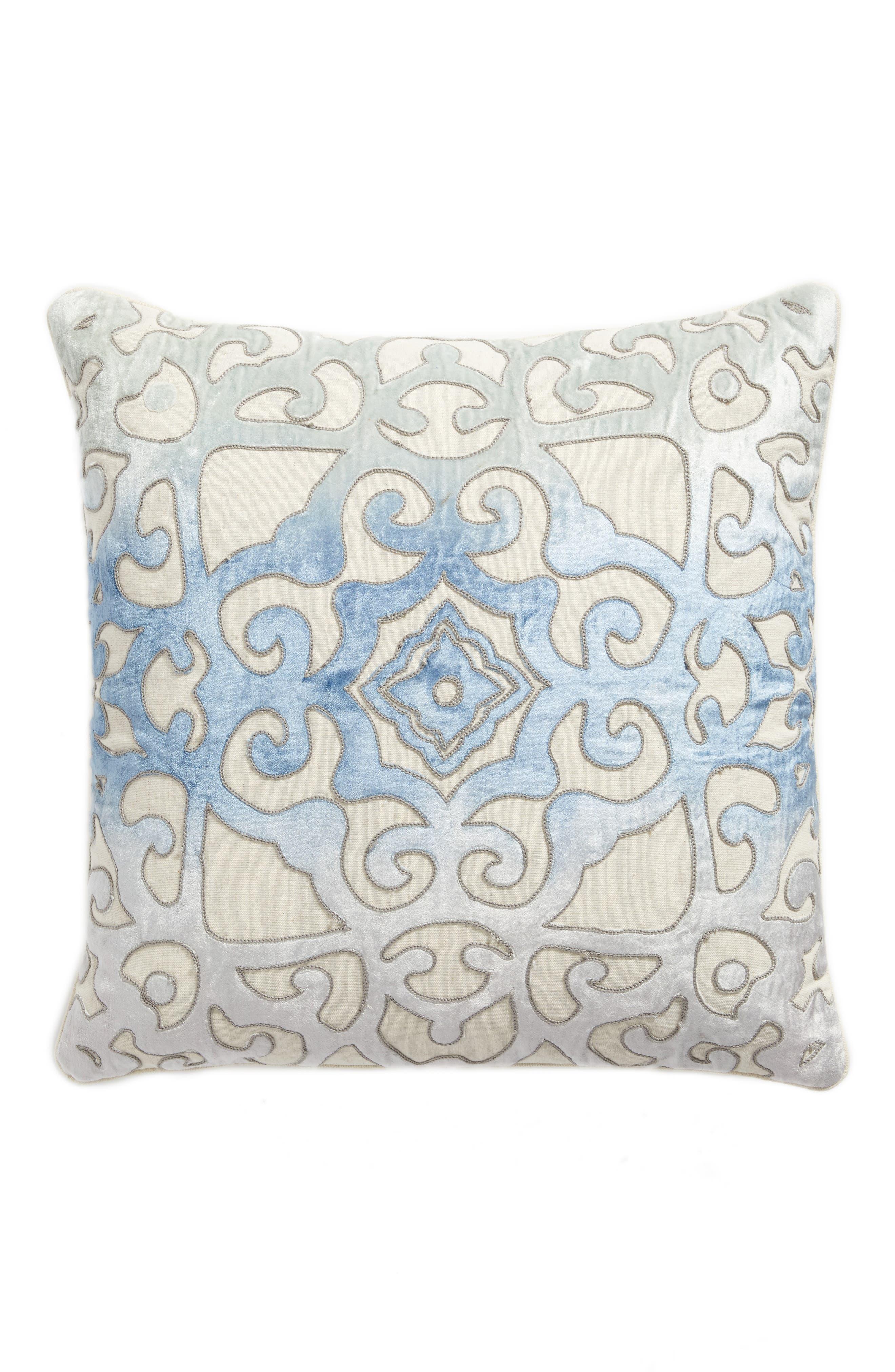 Velvet Cutout Accent Pillow,                             Main thumbnail 1, color,                             Blue Stellar Multi
