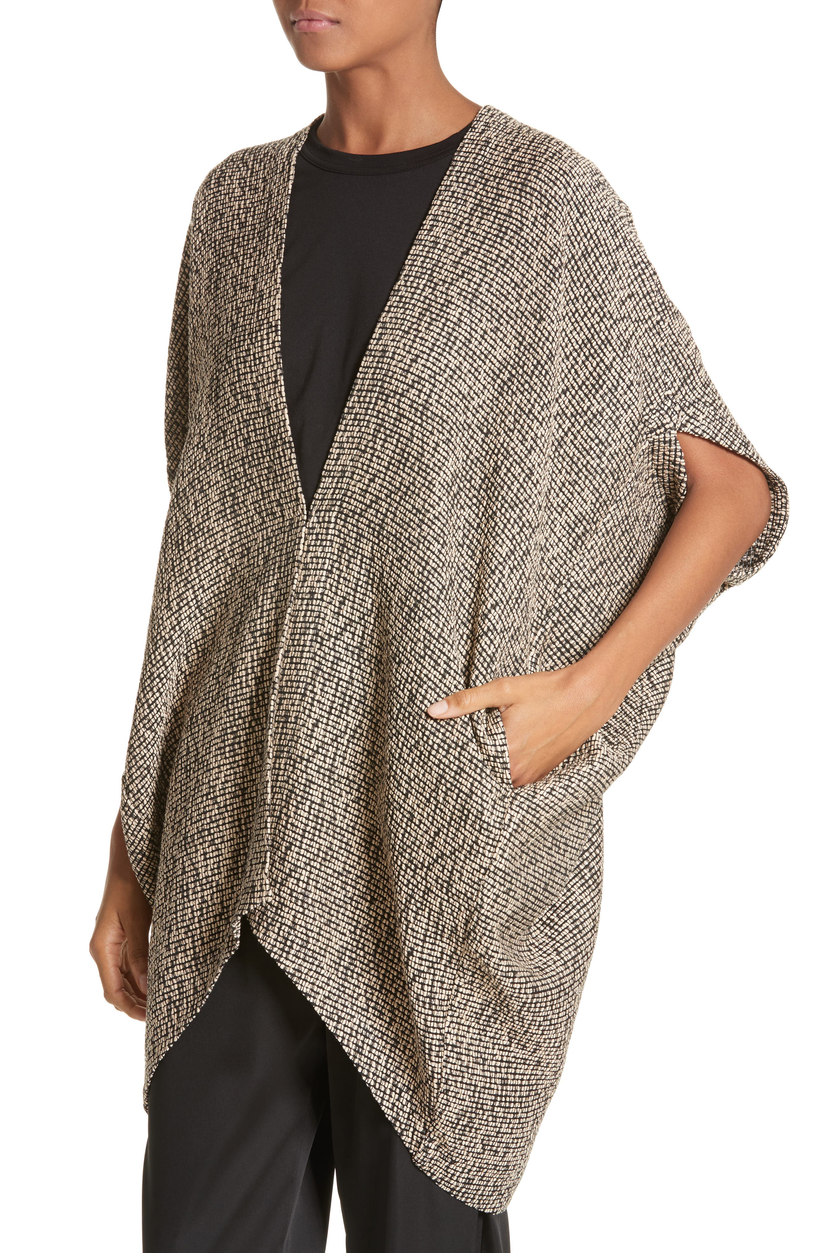 Open Weave Sweater,                             Alternate thumbnail 3, color,                             Black/Greige