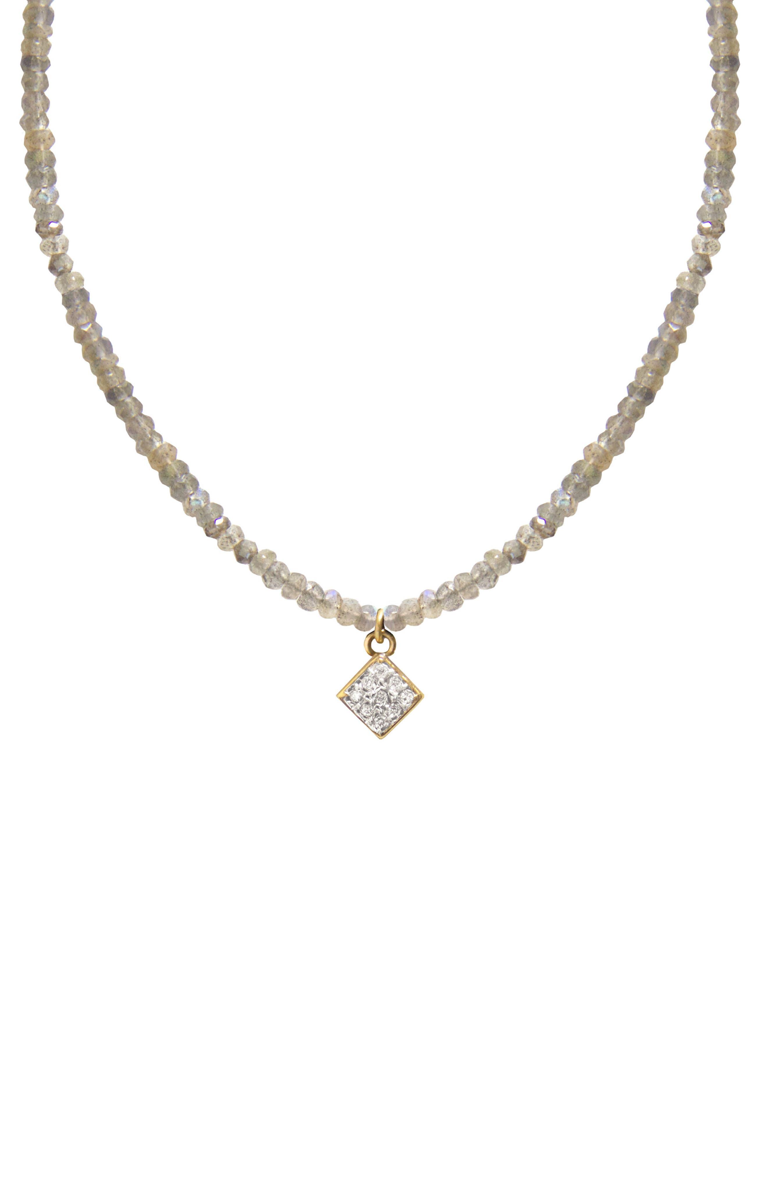 Jane Basch Diamond Charm Pendant Necklace,                             Main thumbnail 1, color,                             Labradorite
