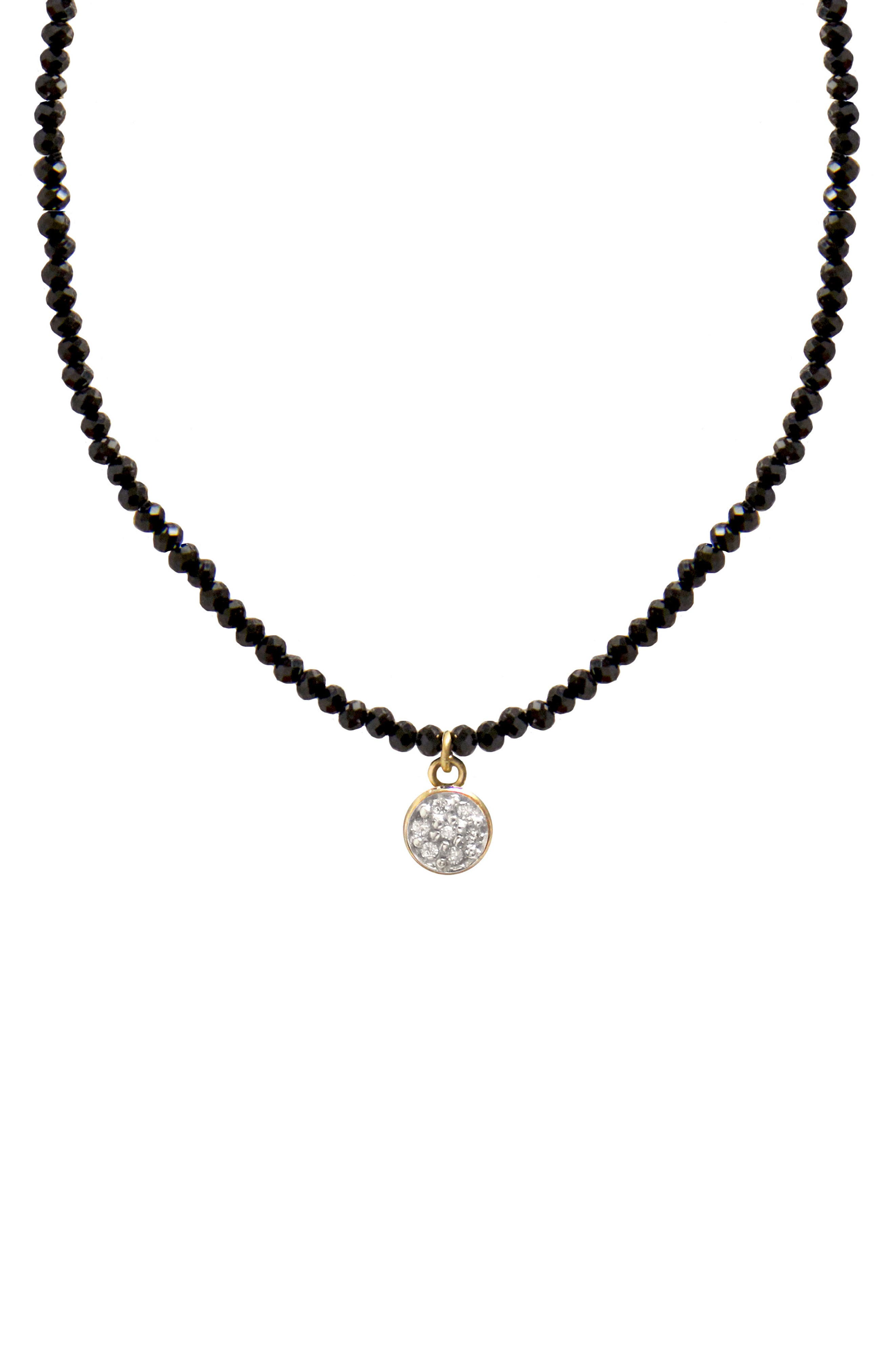 Jane Basch Diamond Circle Pendant Necklace,                             Main thumbnail 1, color,                             Black Onyx