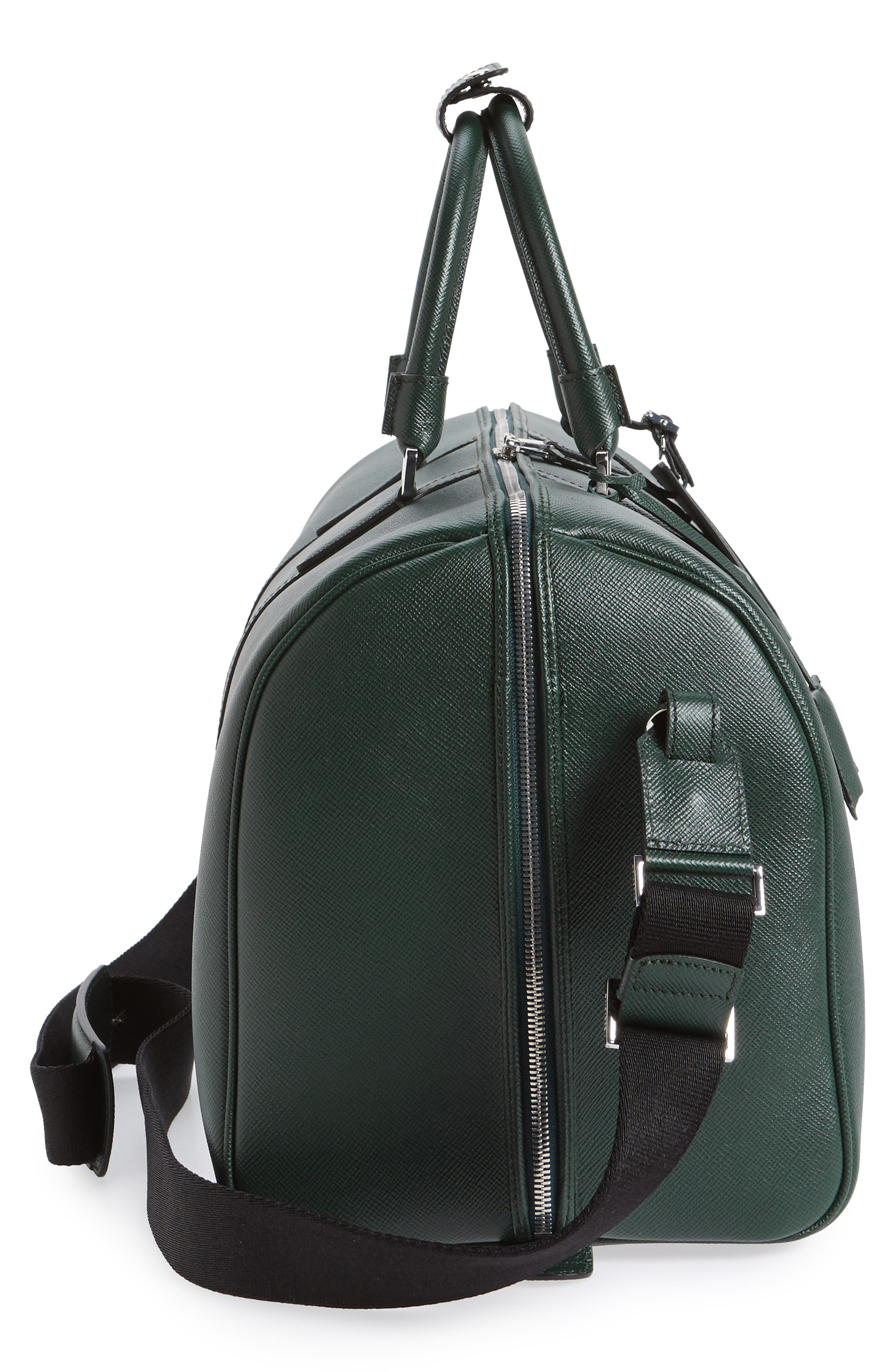 Small Evolution Leather Duffel Bag,                             Alternate thumbnail 5, color,                             Forest Green