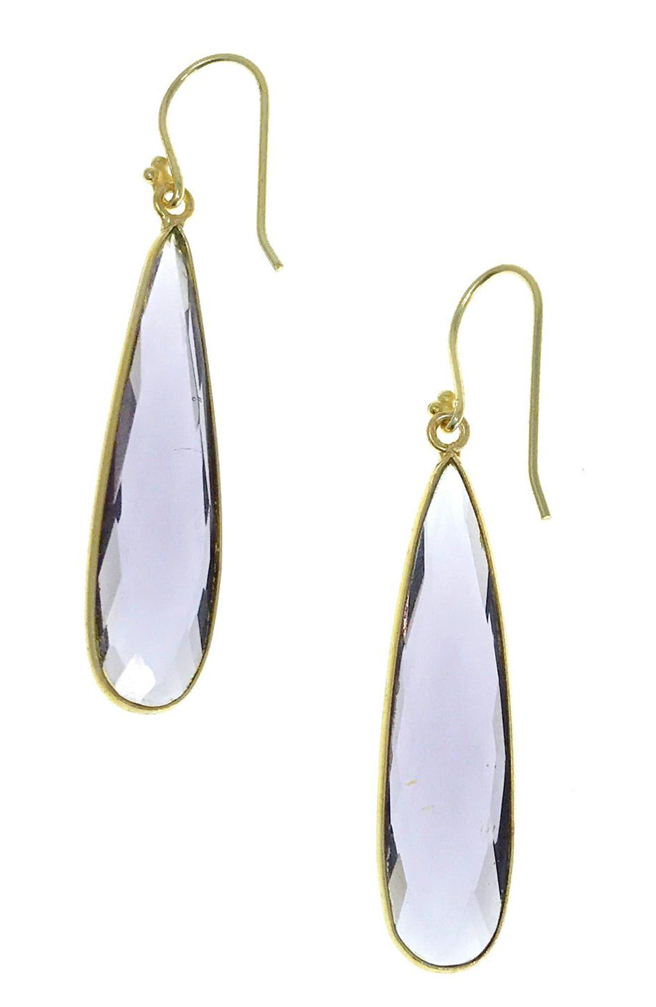 Newport Semiprecious Stone Teardrop Earrings,                             Main thumbnail 1, color,                             Amethyst