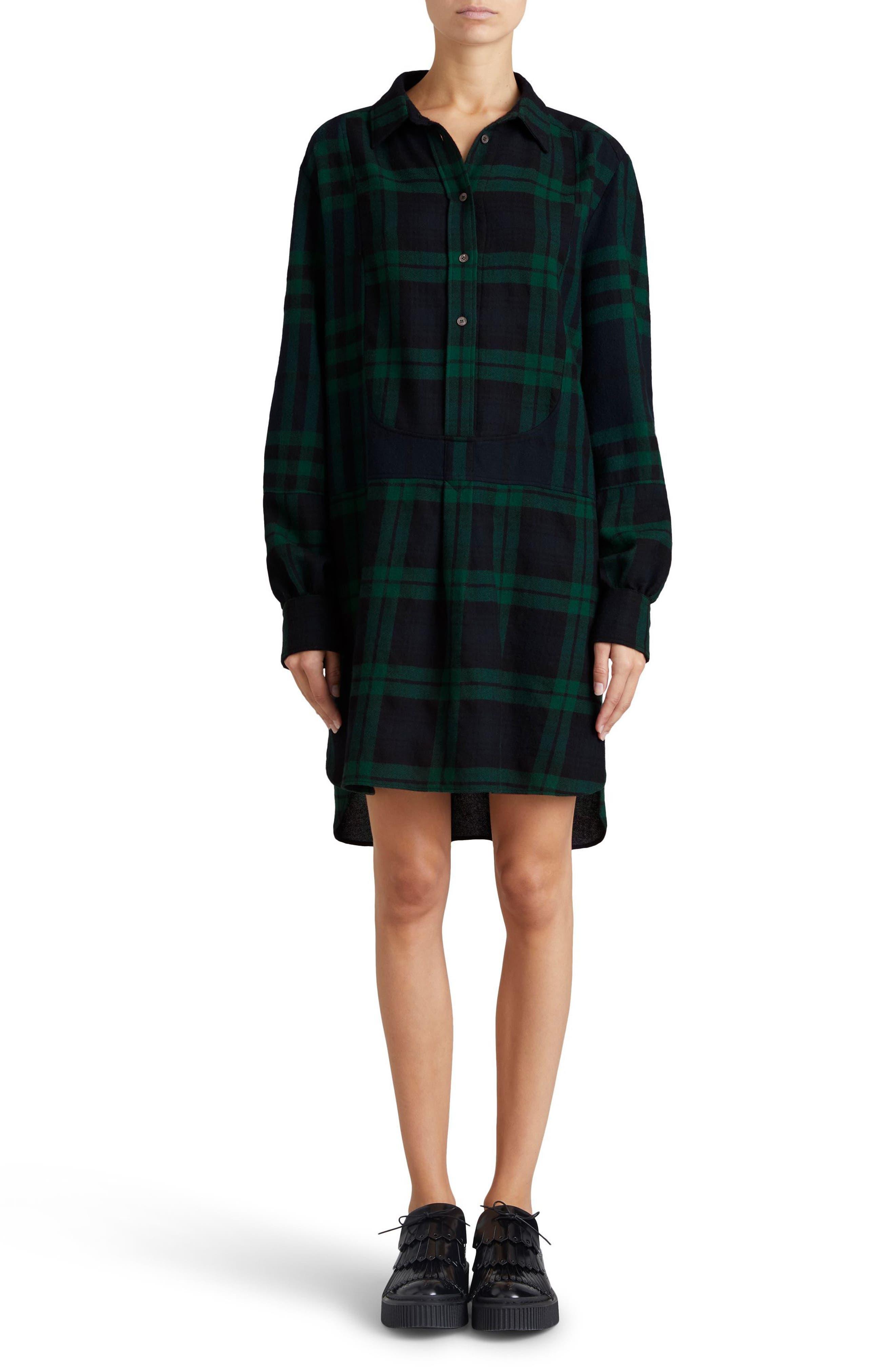 Kylie Check Wool Shirtdress,                             Alternate thumbnail 6, color,                             Navy