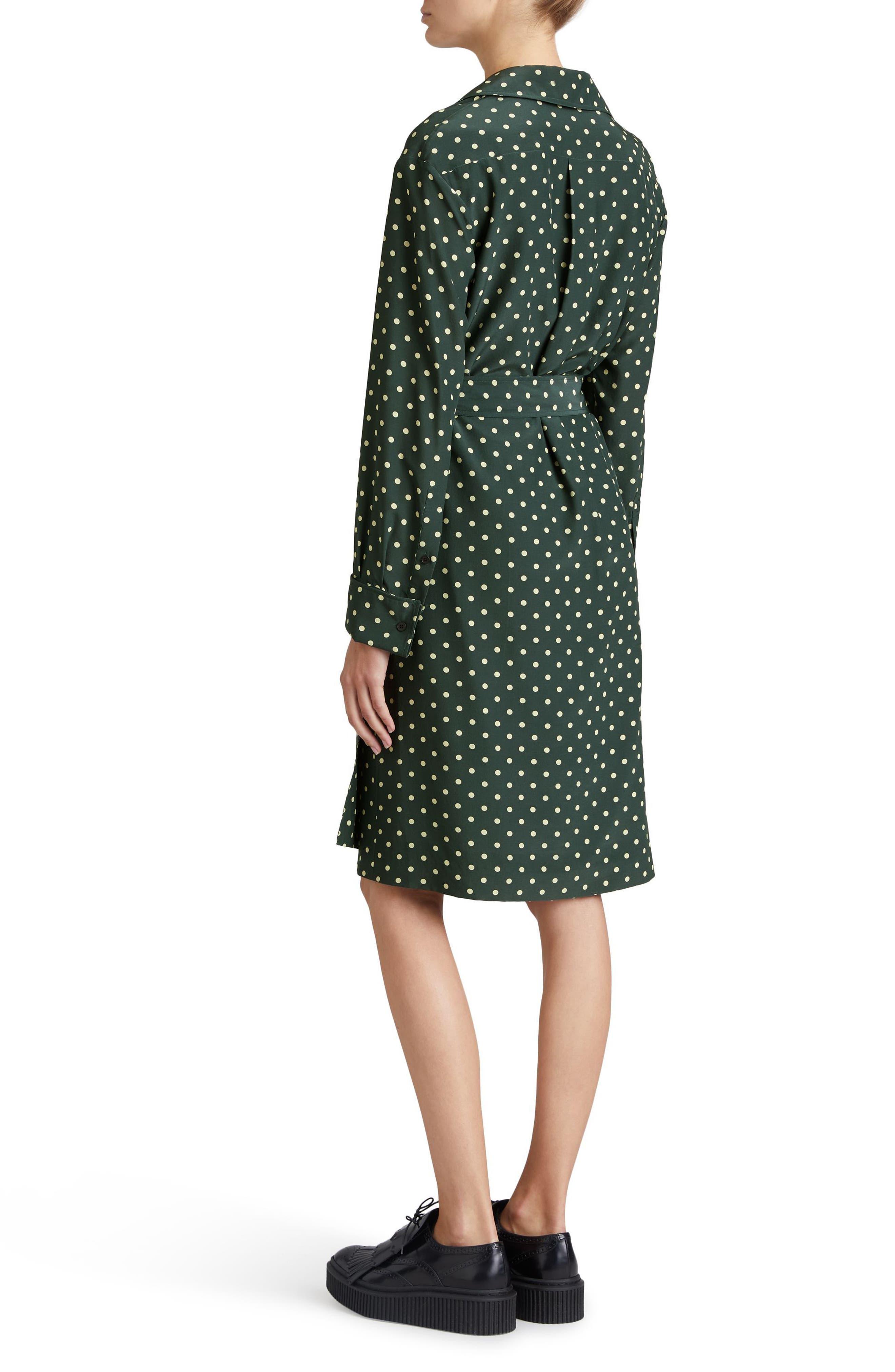 Janis Polka Dot Silk Wrap Dress,                             Alternate thumbnail 2, color,                             Racing Green