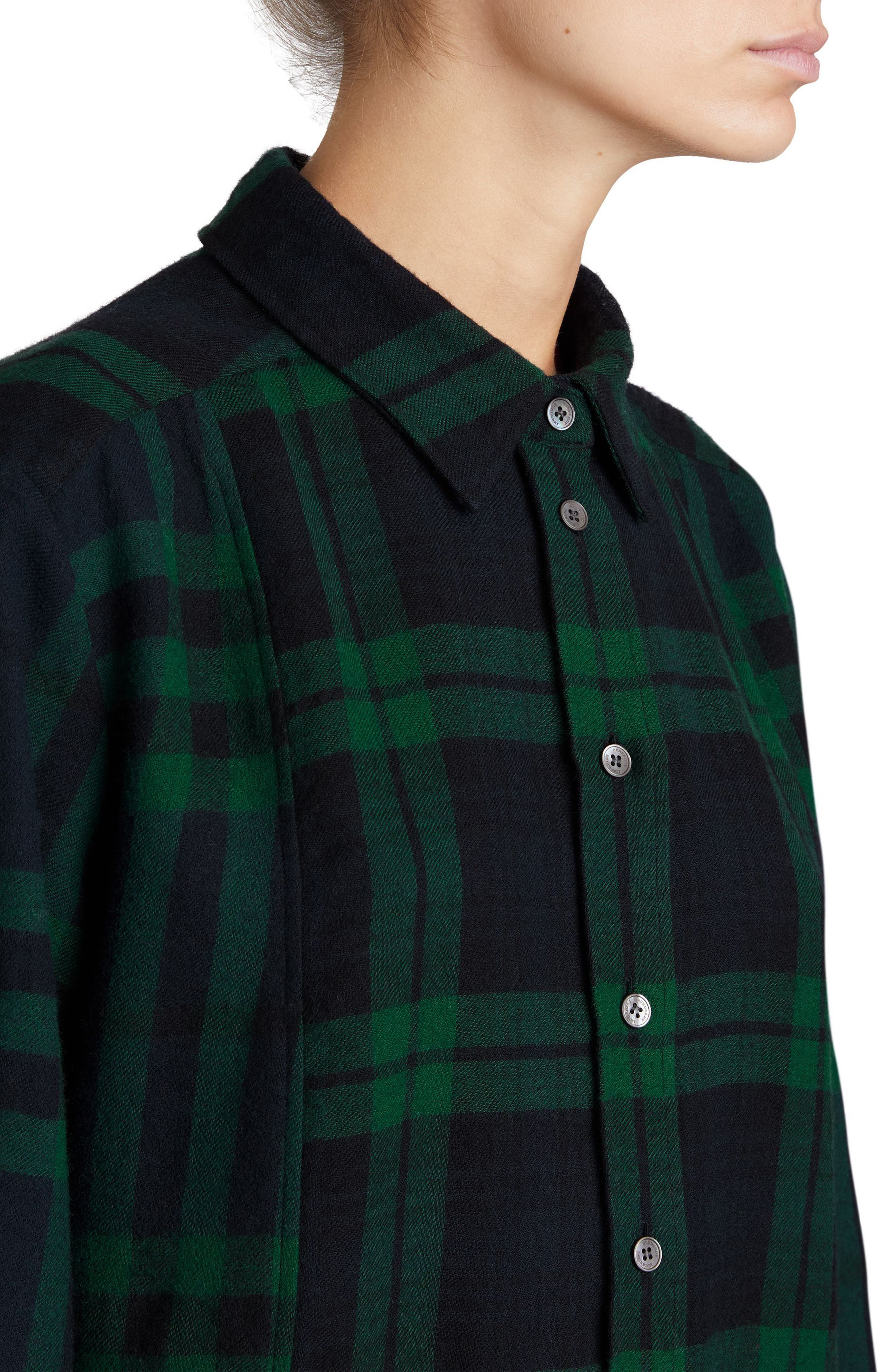 Kylie Check Wool Shirtdress,                             Alternate thumbnail 4, color,                             Navy