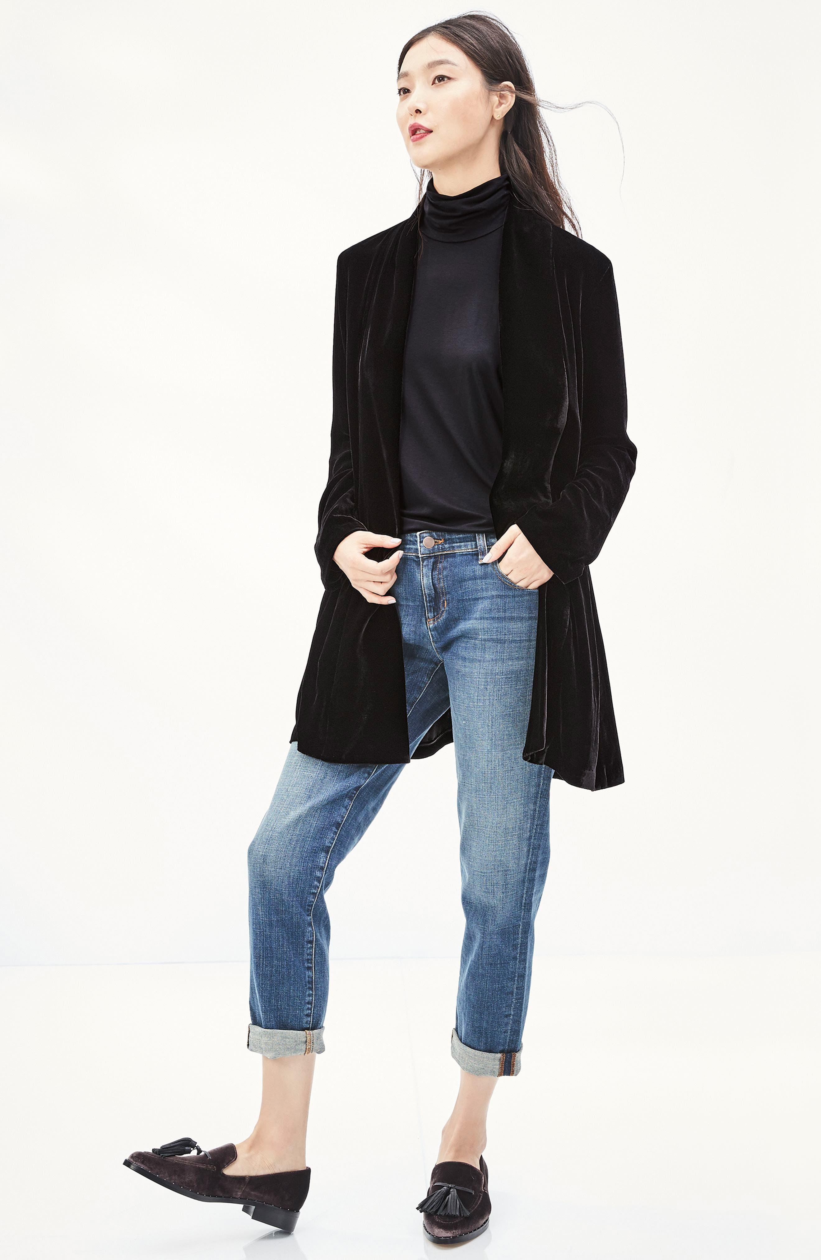 Shawl Collar Velvet Jacket,                             Alternate thumbnail 7, color,