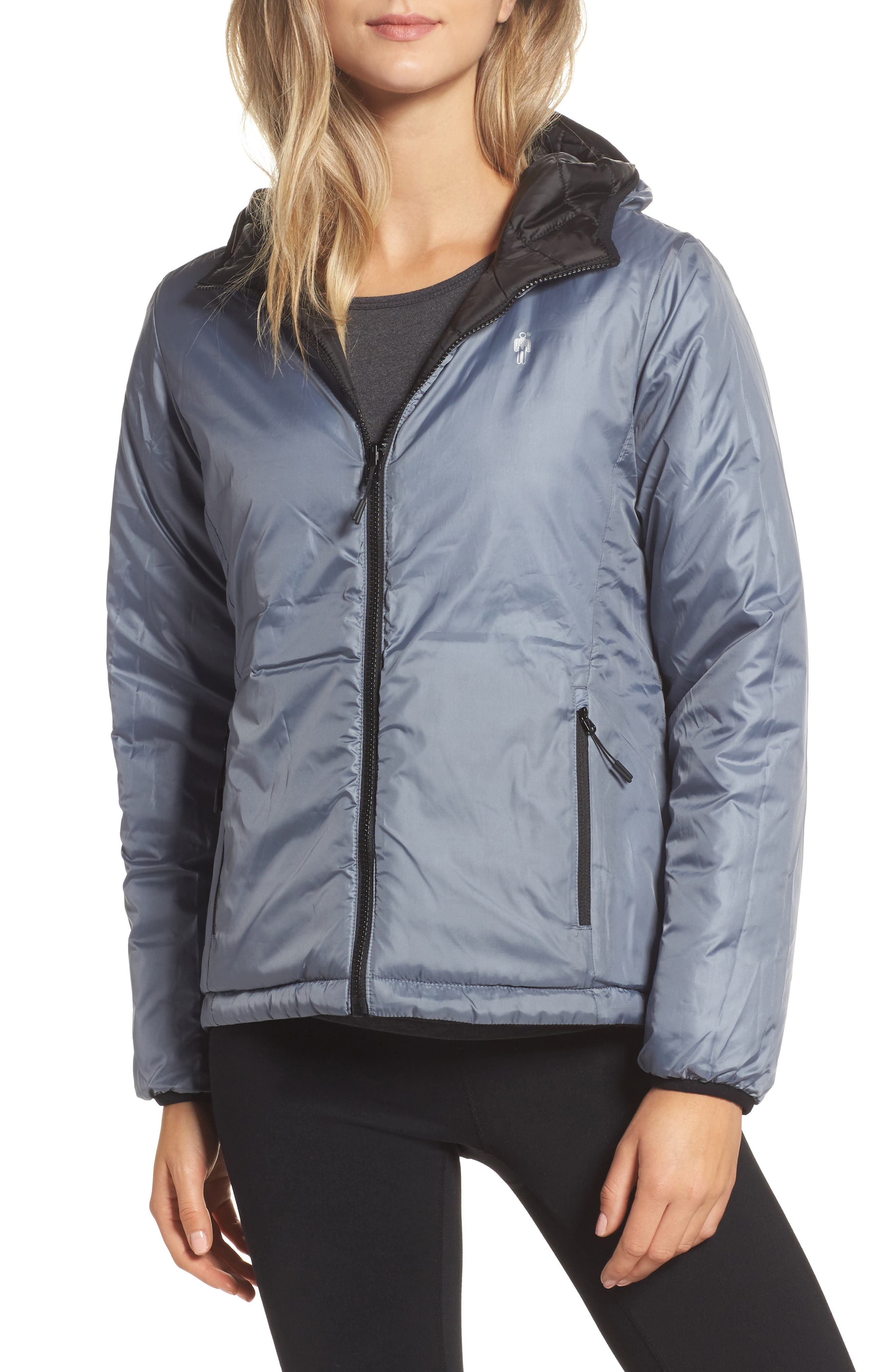 Highland Reversible Water-Resistant & Windproof Quilted Puffer Jacket,                             Alternate thumbnail 3, color,                             Black/ Gunmetal