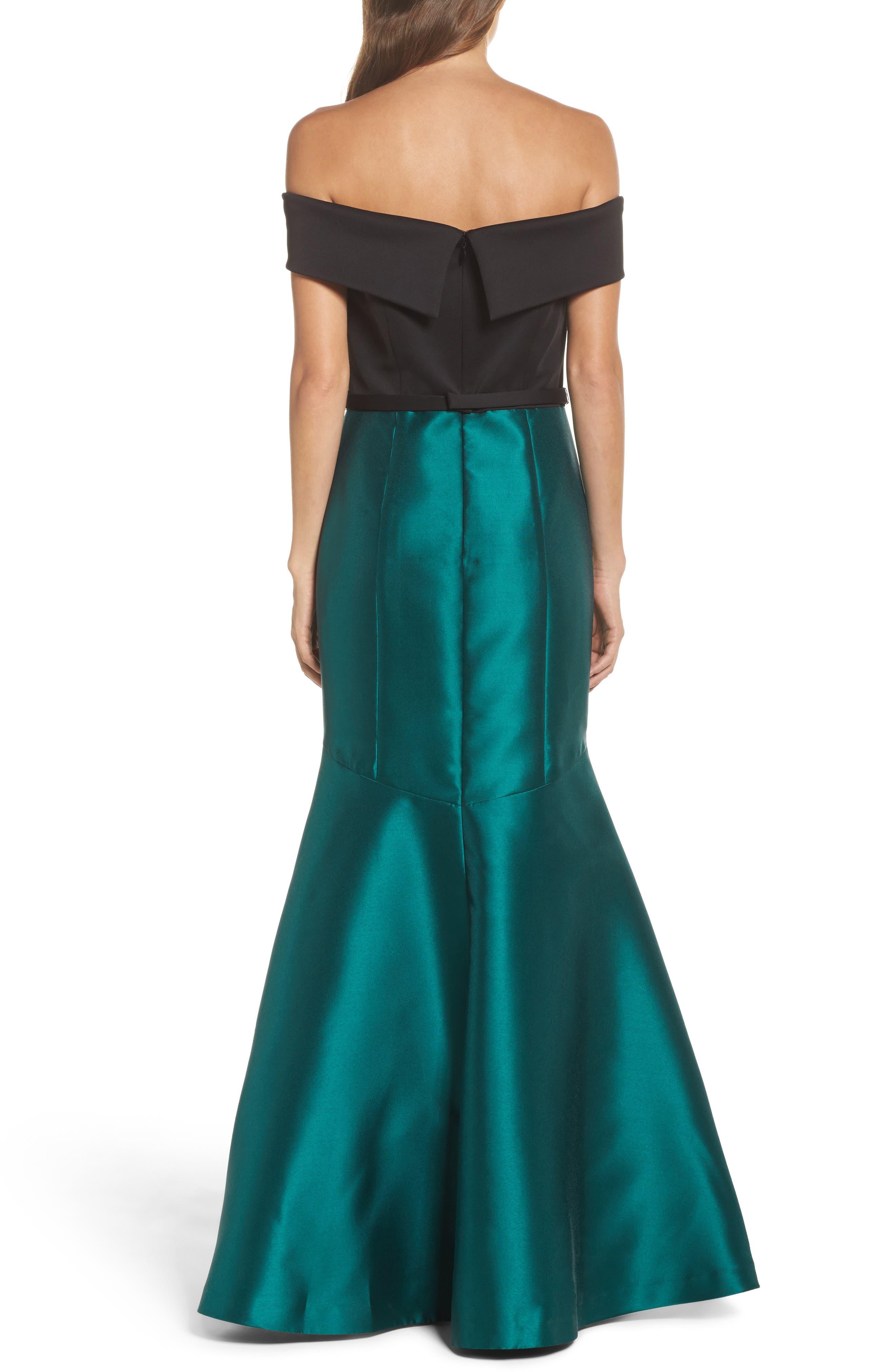 Mixed Media Off the Shoulder Trumpet Gown,                             Alternate thumbnail 2, color,                             Black Emerald