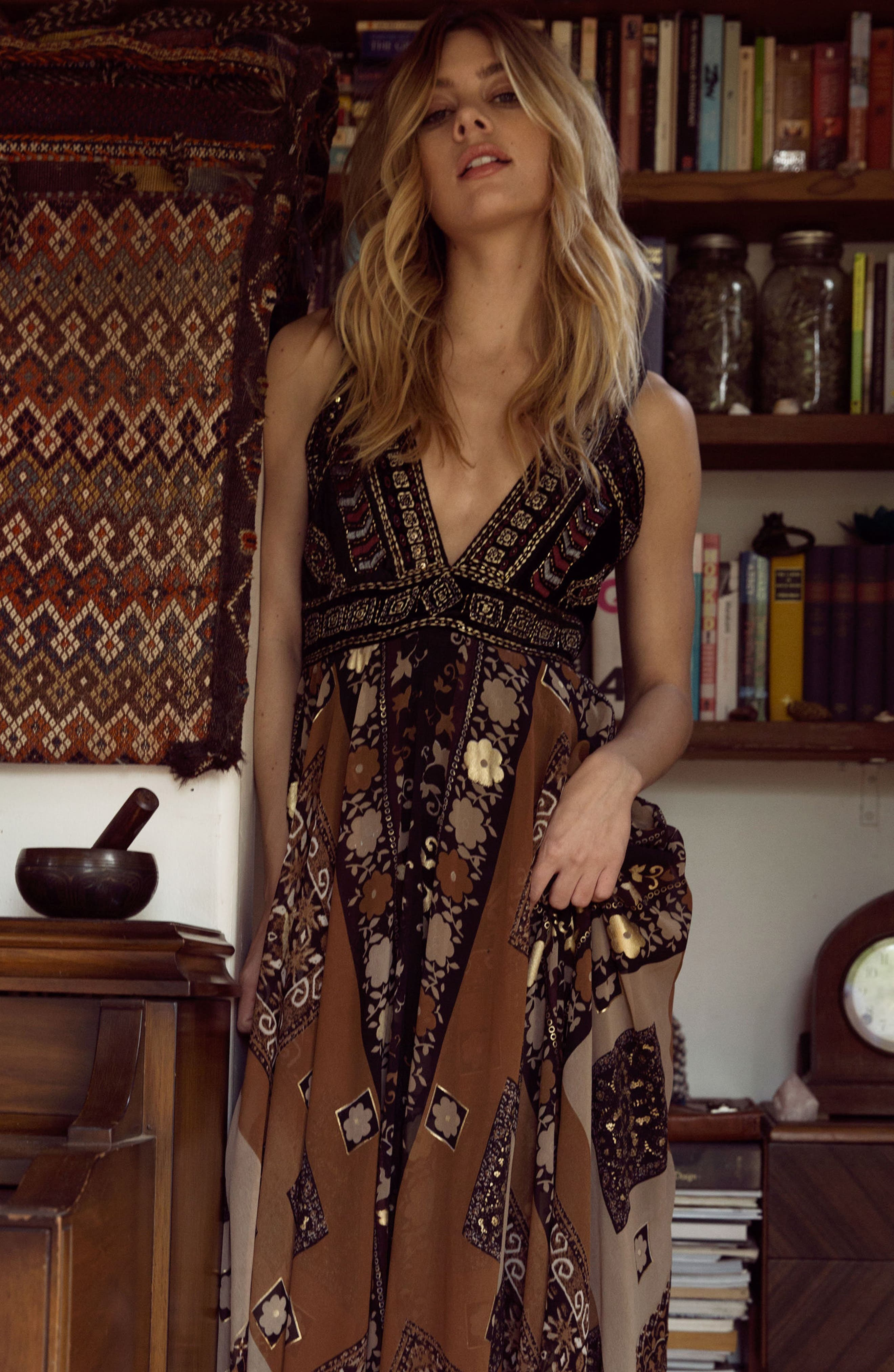 Sonder Embroidered Maxi Dress,                             Alternate thumbnail 8, color,                             Brown