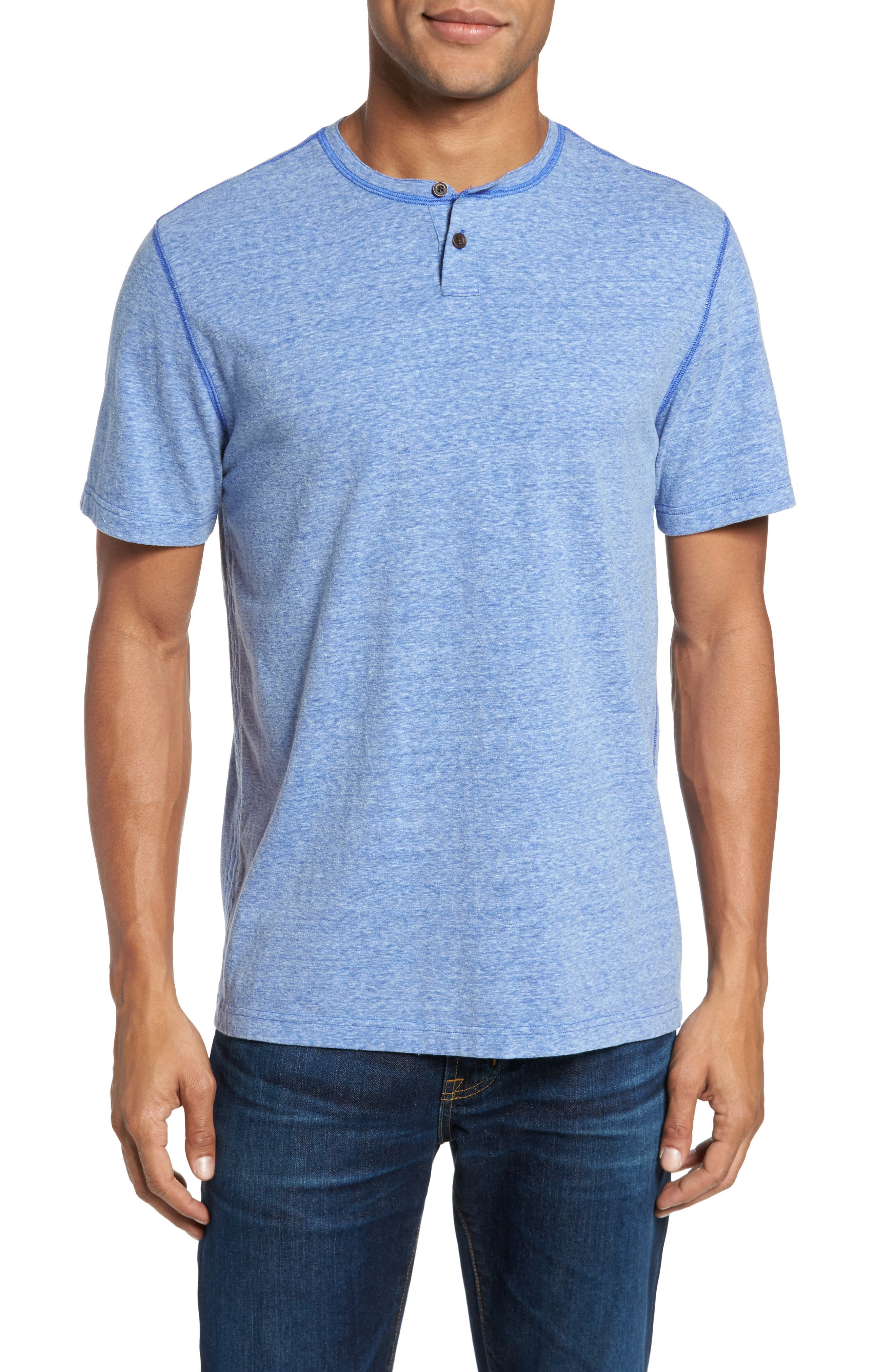 Heathered Short Sleeve Henley,                         Main,                         color, Dazzling Blue Heather