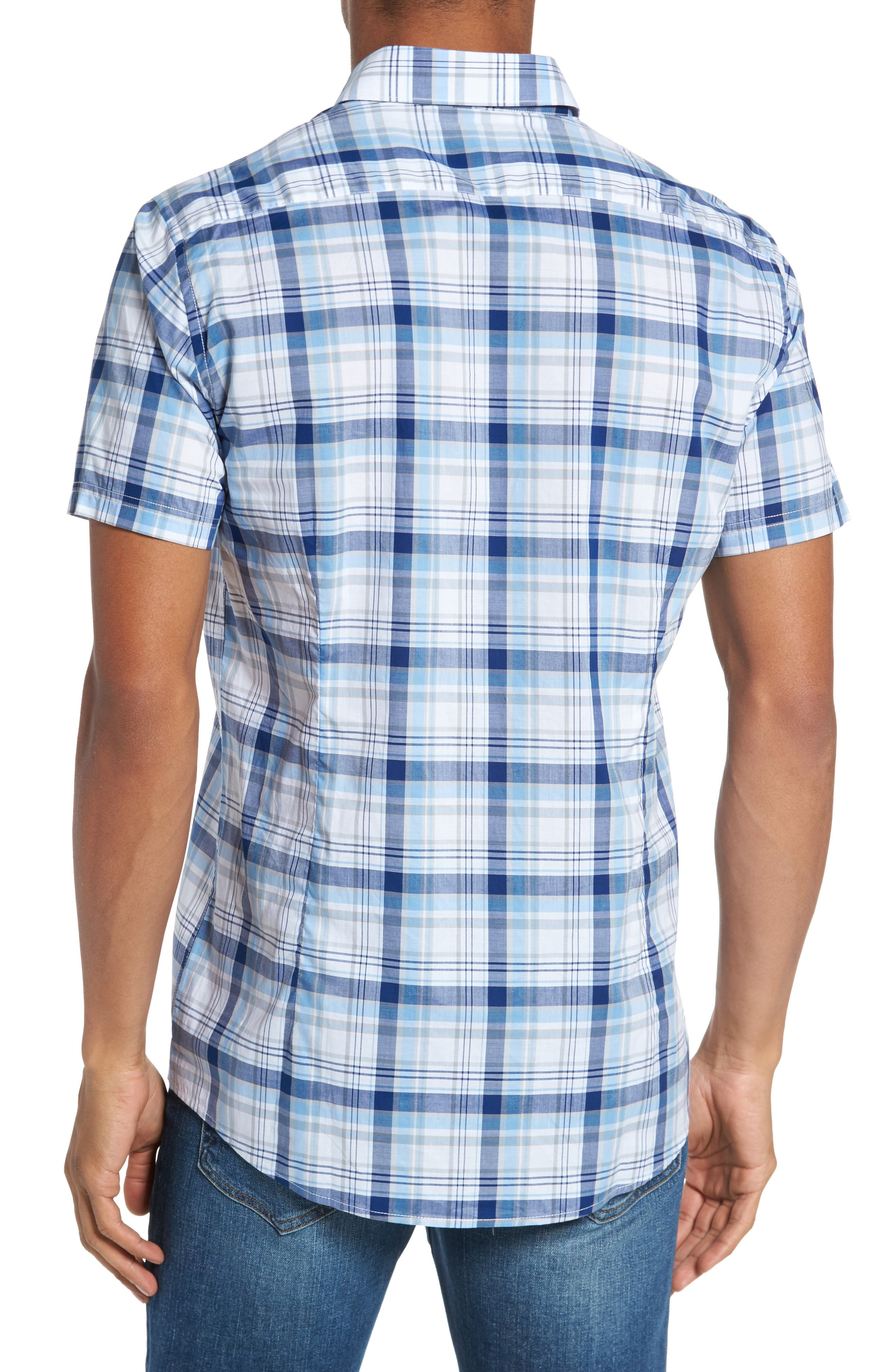 Gerald Tailored Fit Plaid Sport Shirt,                             Alternate thumbnail 2, color,                             Blue